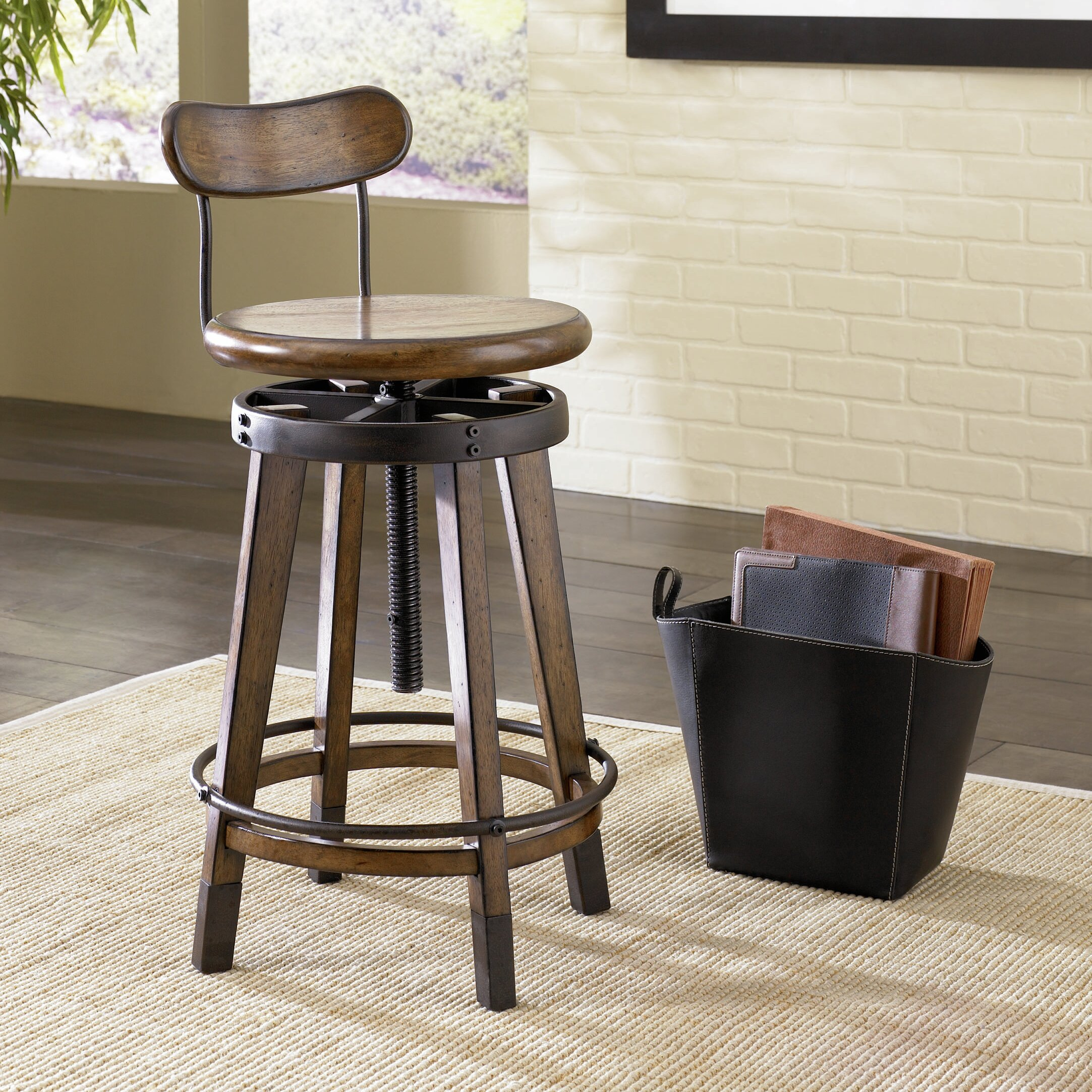 Hammary Studio Home Adjustable Height Swivel Bar Stool