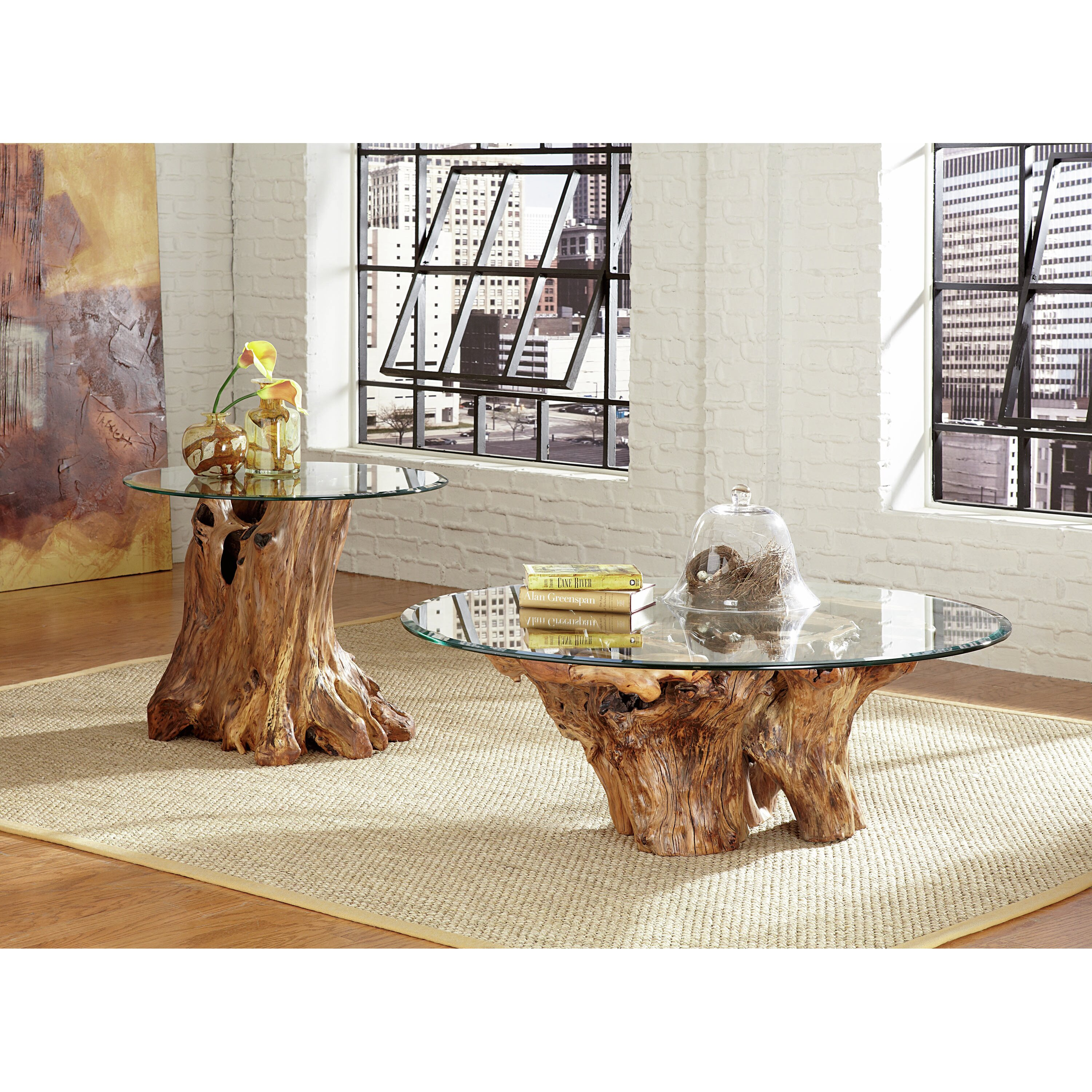 Coffee Table Made Out Of Tree: Hammary Hidden Treasures Root Ball End Table & Reviews