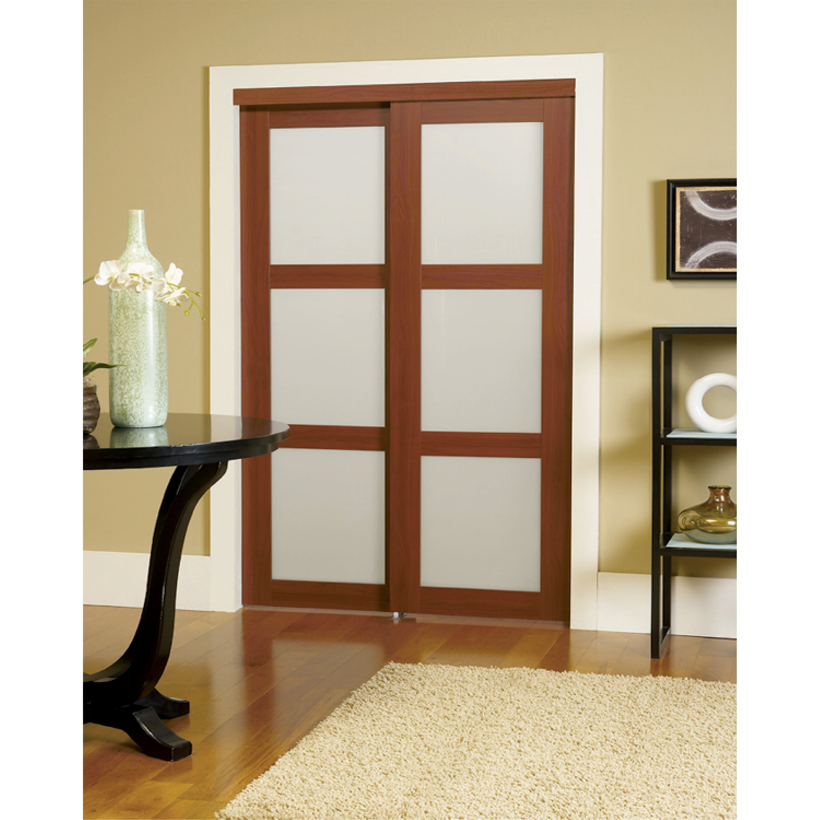 Erias home designs baldarassario mdf 2 panel painted for Sliding panel doors interior