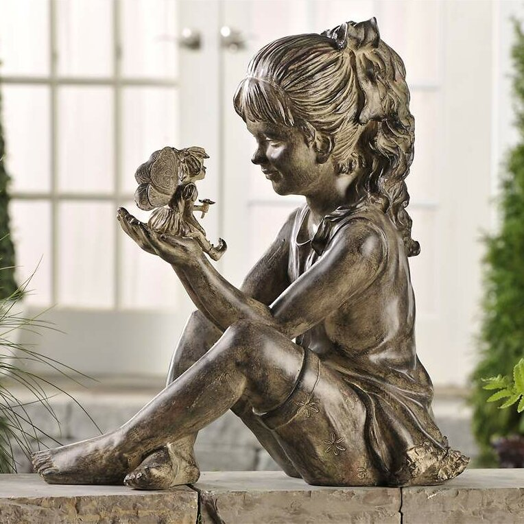 Giftcraft Sitting Girl With Fairy Figurine Amp Reviews Wayfair