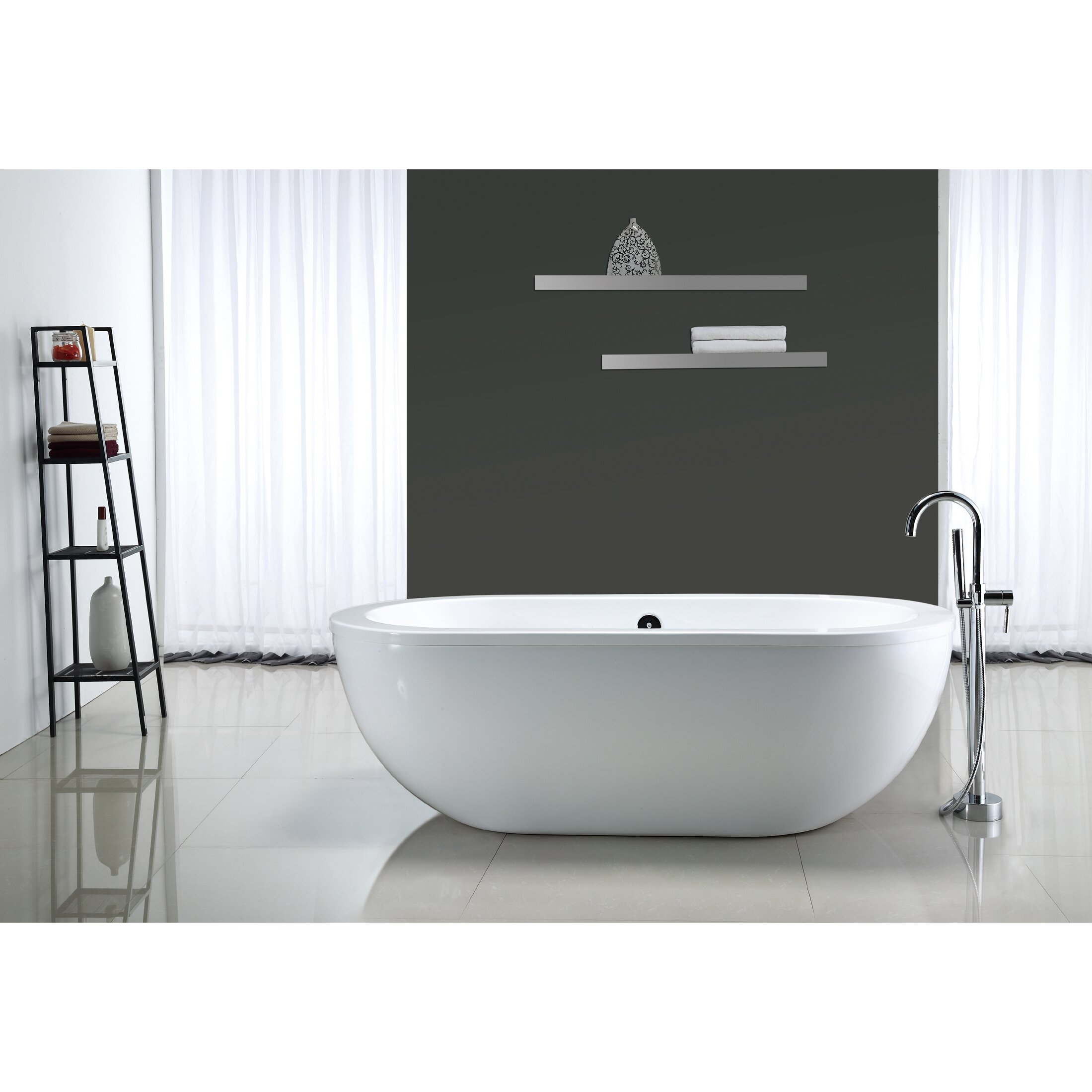 "Freestanding Bathtub: Ove Decors Serenity 71"" X 34"" Acrylic Freestanding Bathtub"
