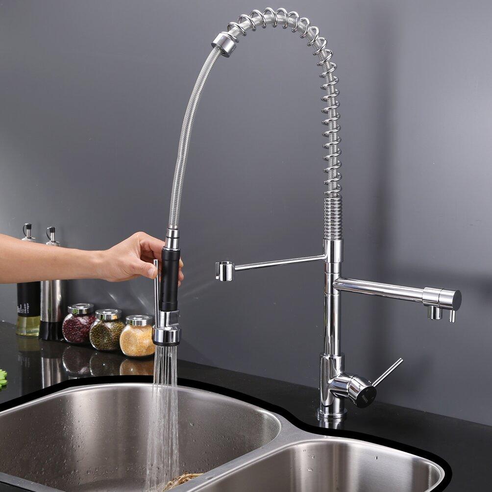 Ruvati Alori Single Handle Kitchen Faucet with Pre Rinse