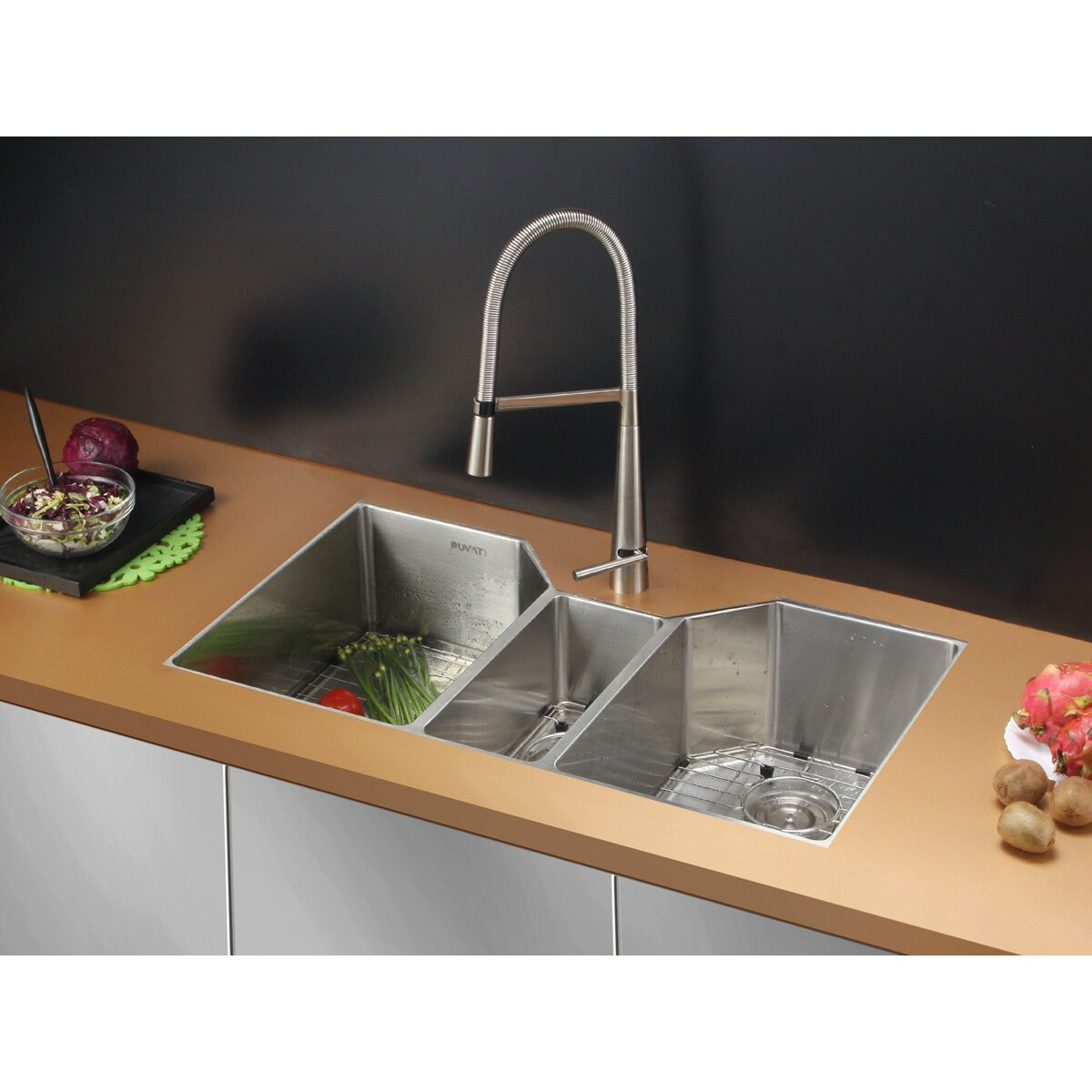 3 bowl kitchen sinks ruvati gravena 35 quot x 19 5 quot undermount bowl kitchen 3853