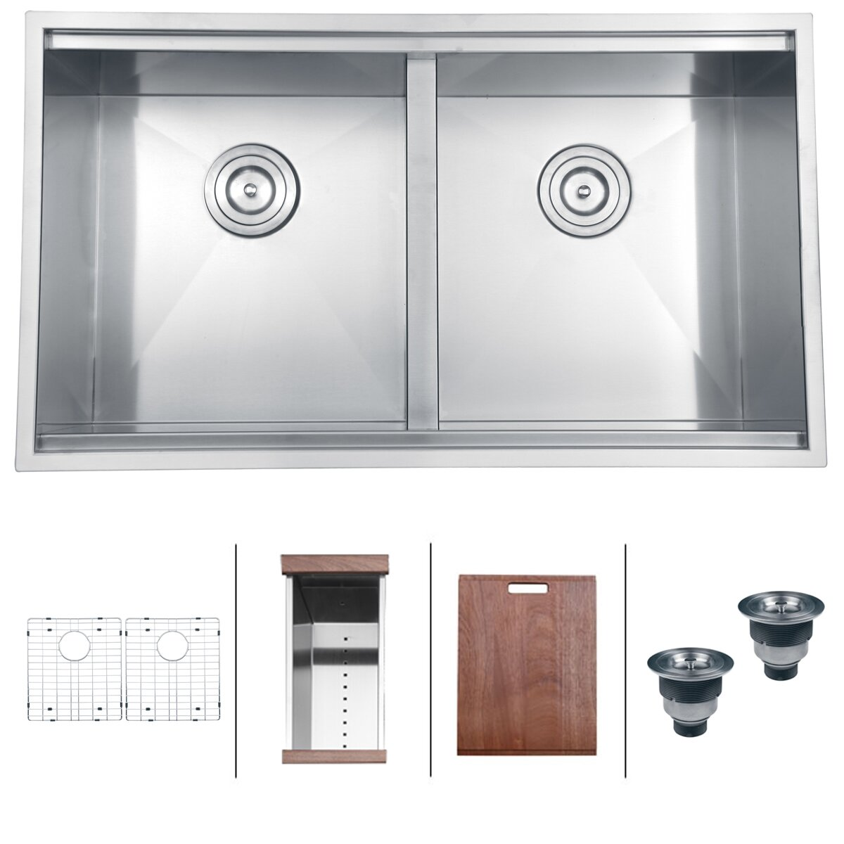 Ruvati Roma 33 X 19 Undermount Double Bowl Kitchen Sink Reviews Wayfair
