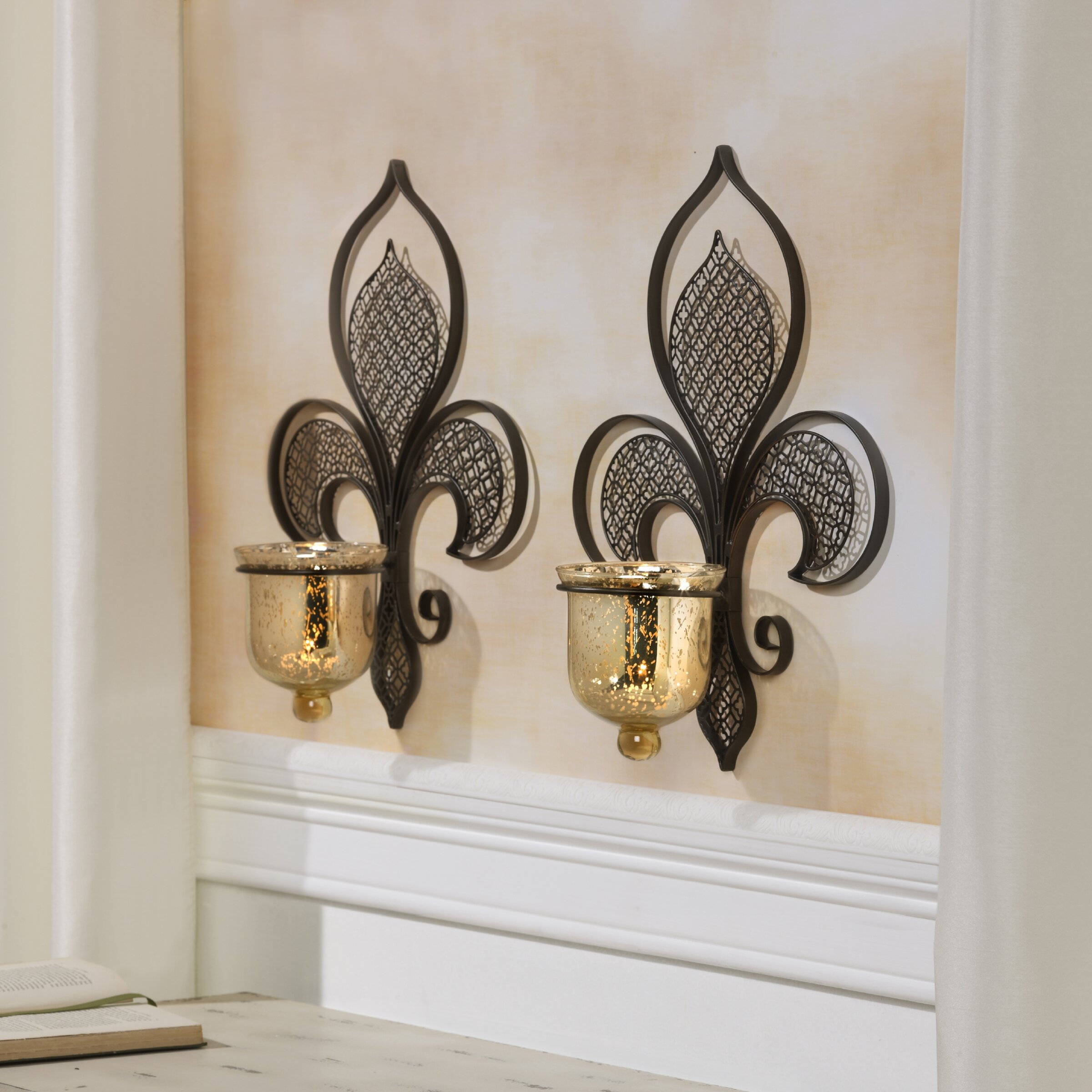 Bombay Metal Filigree Fleur De Lis Sconce Reviews Wayfair