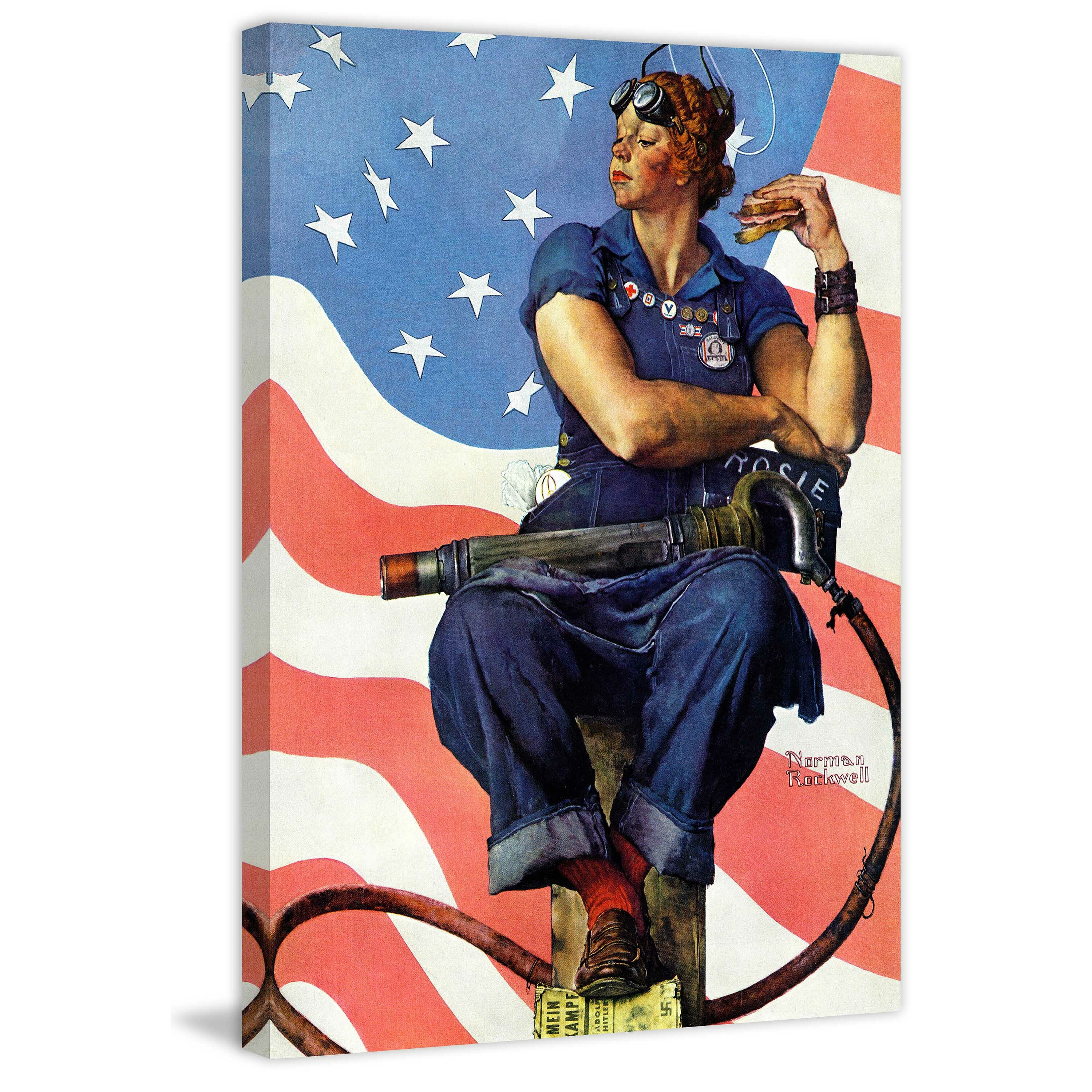 marmont hill rosie the riveter by norman rockwell painting print on wrapped canvas wayfair. Black Bedroom Furniture Sets. Home Design Ideas