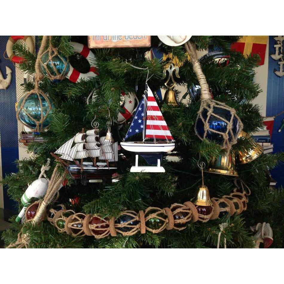 Handcrafted Nautical Decor USA Flag Sailboat Model
