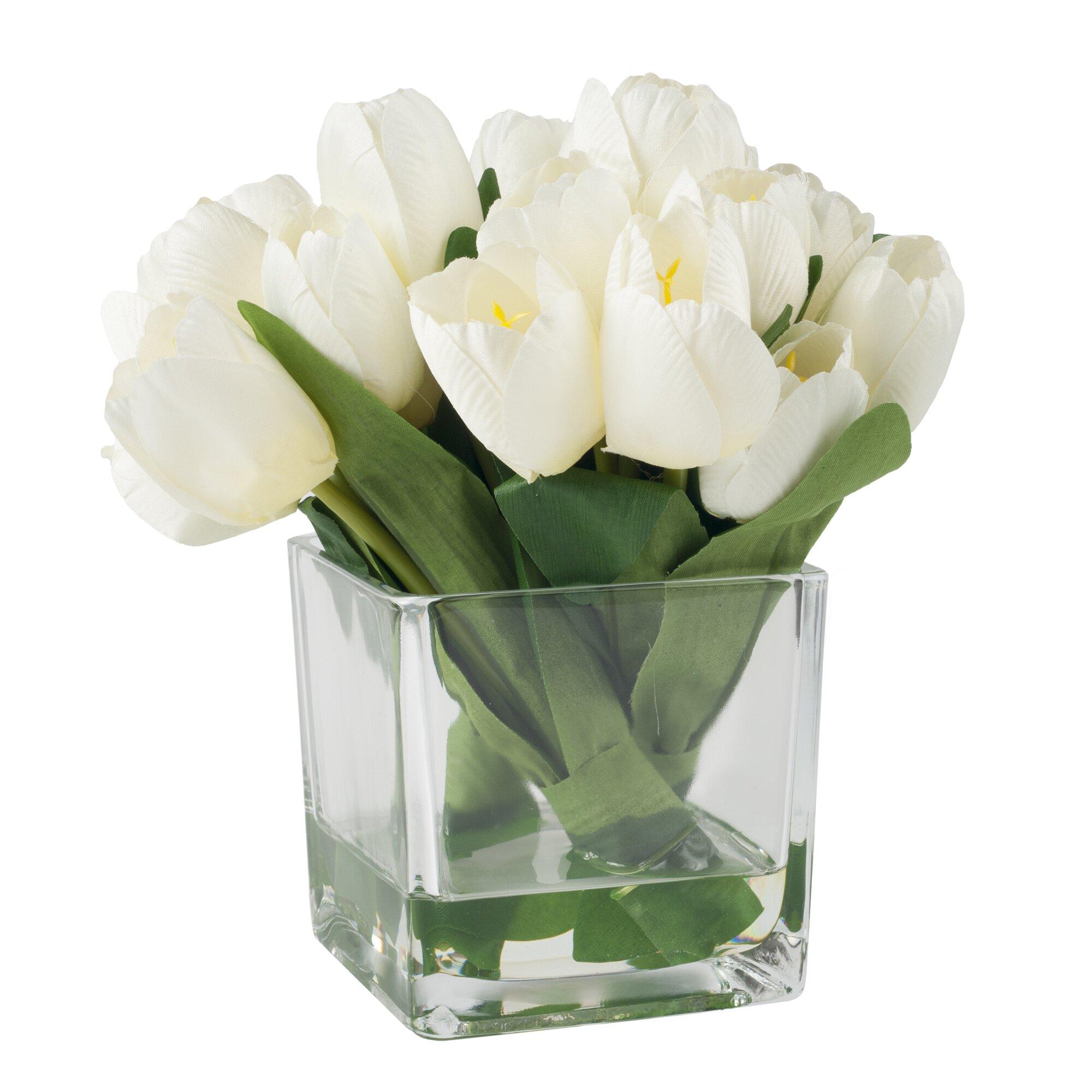 Pure Garden Tulip Arrangement In Glass Vase Amp Reviews