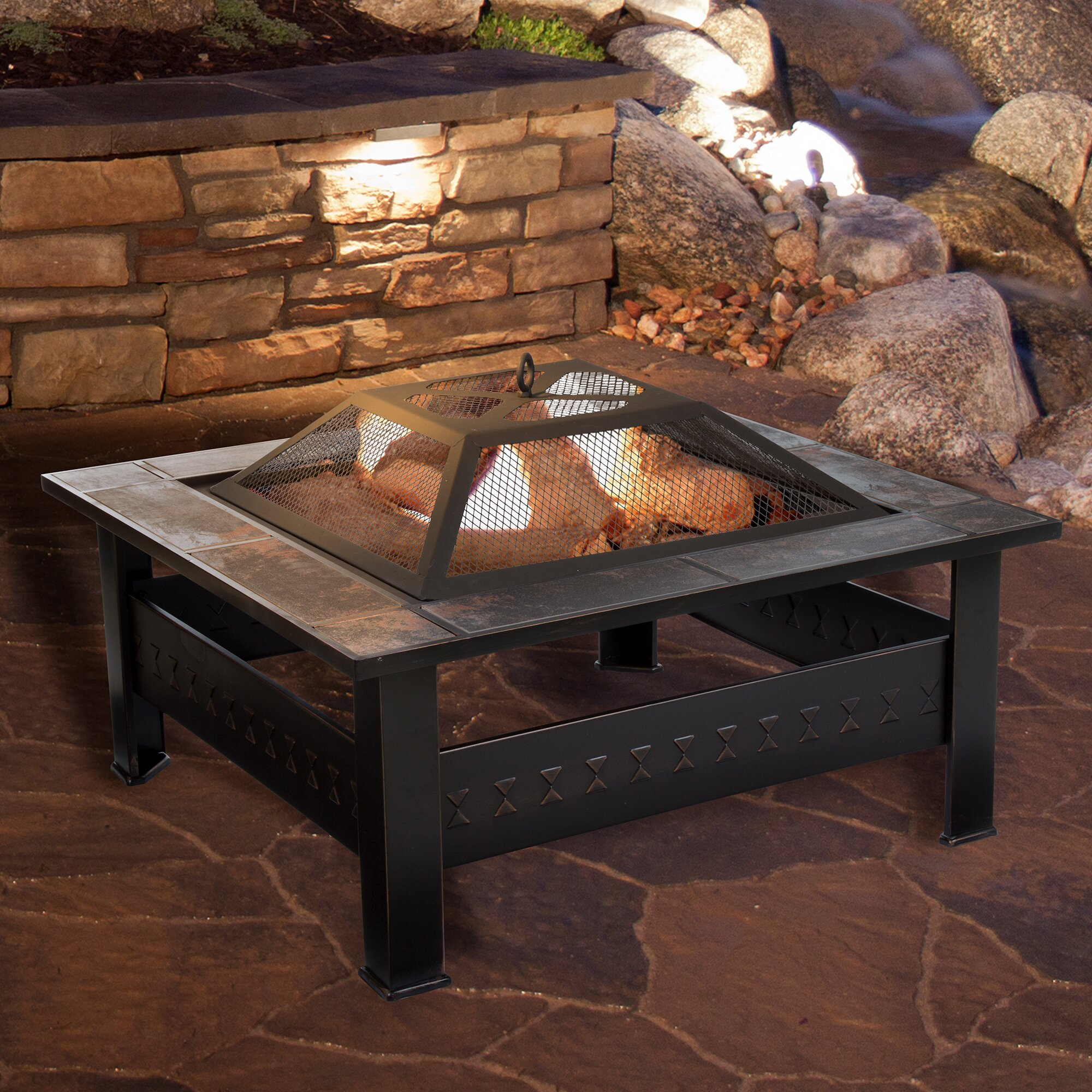 Pure Garden Steel Wood Fire Pit Table Amp Reviews Wayfair