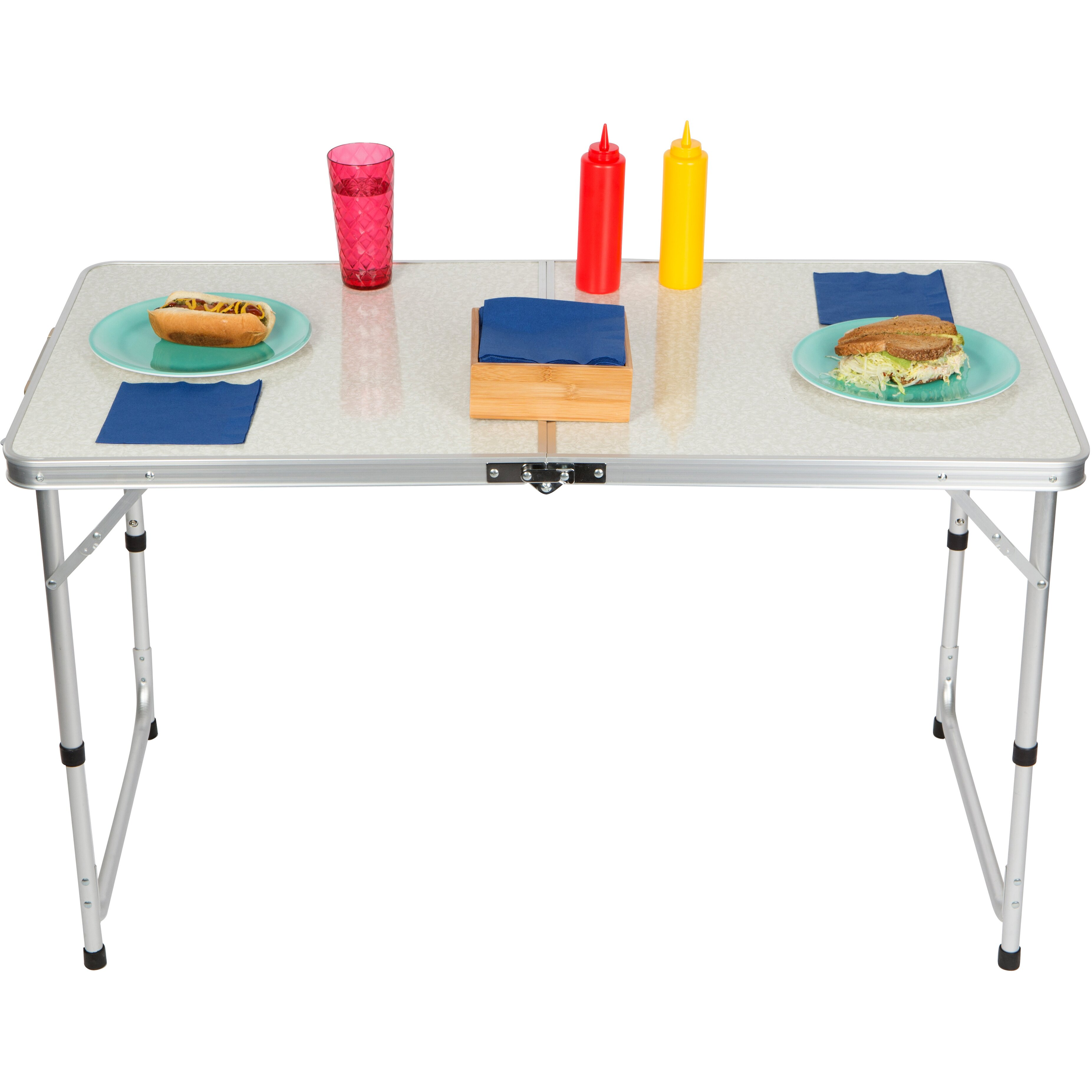 Trademark innovations picnic table reviews wayfair for 10 person picnic table