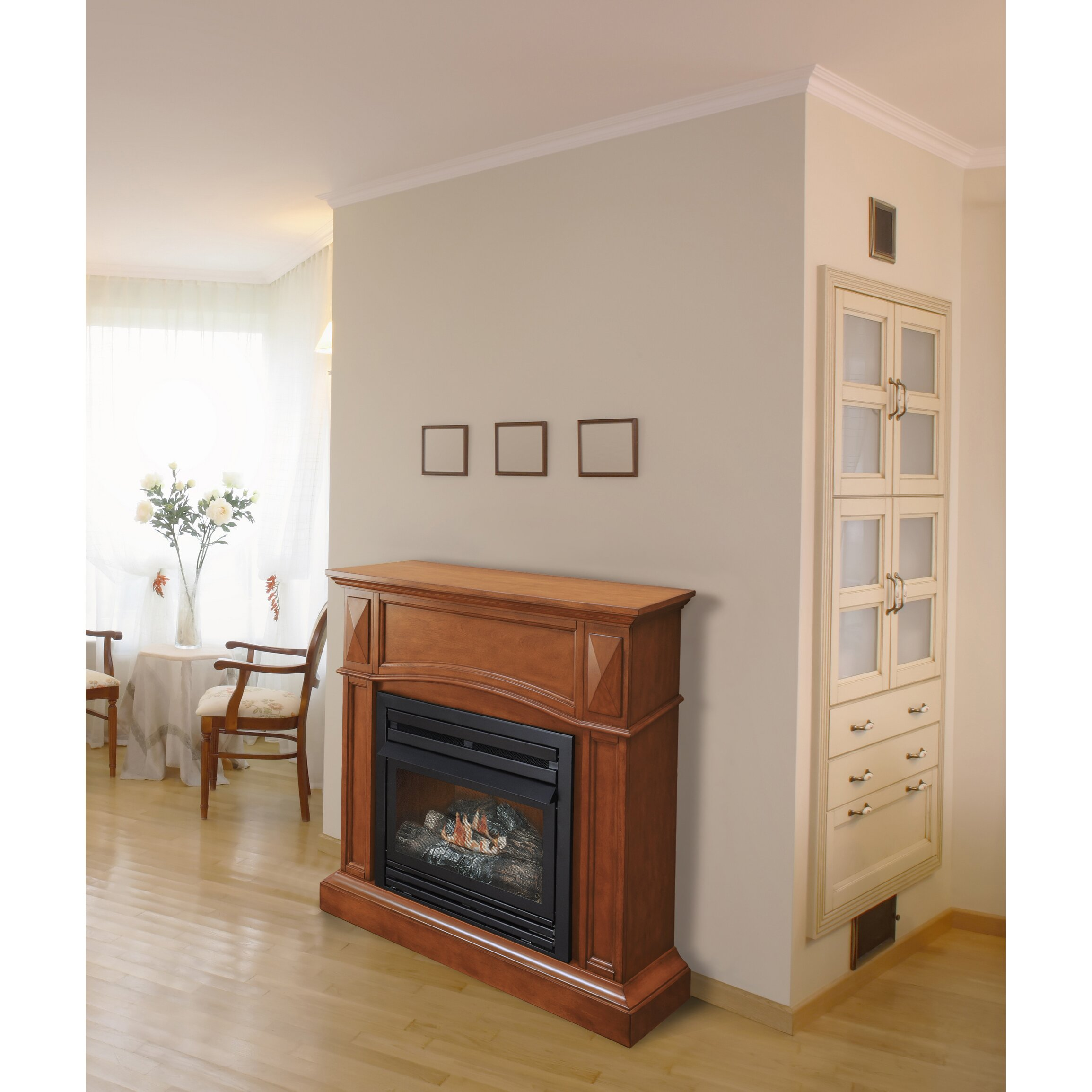 Corner Hearth: Pleasant Hearth Compact Vent-Free Dual Fuel Gas Fireplace