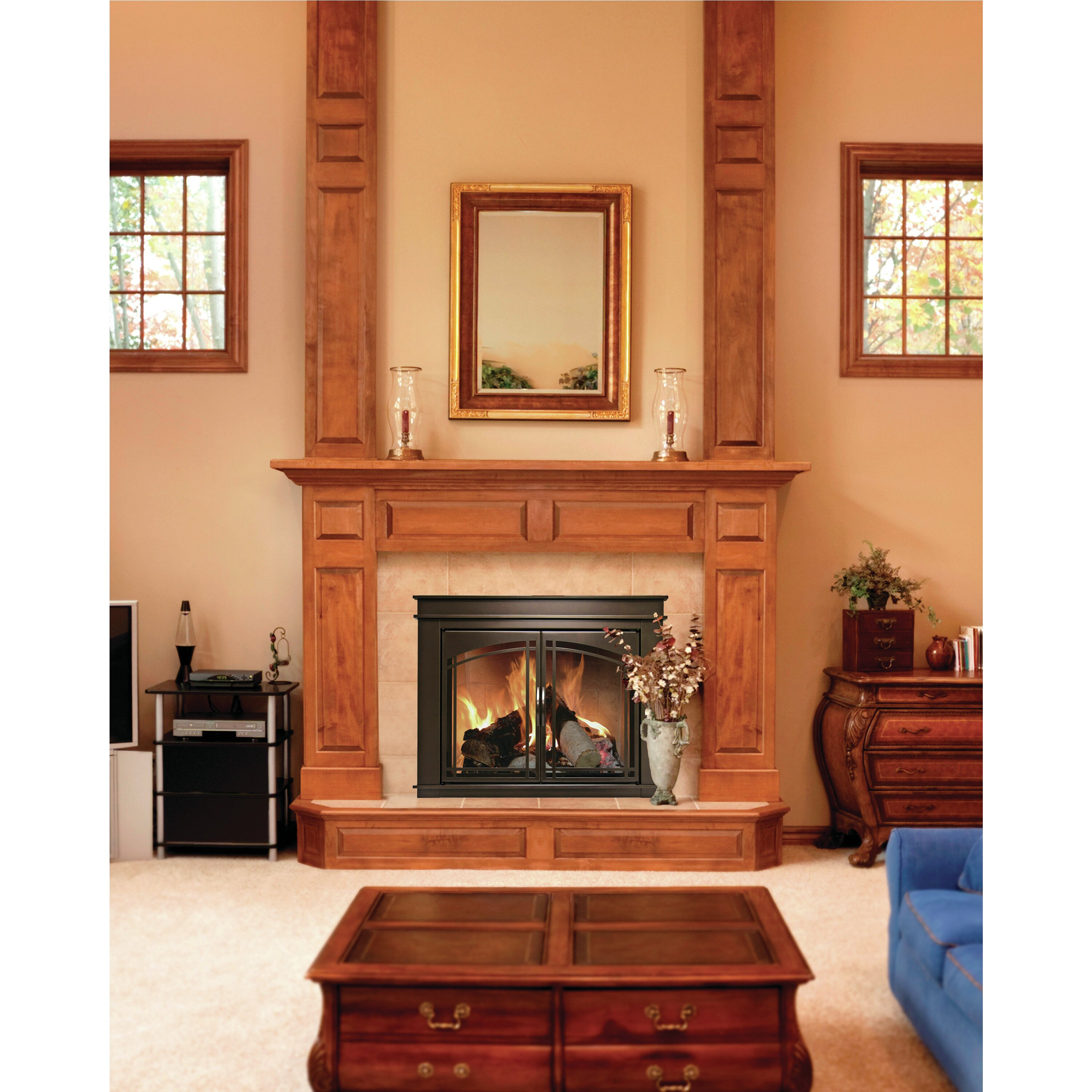 Sarah Check Hearth Cabinet: Pleasant Hearth Fenwick Cabinet Style Fireplace Screen