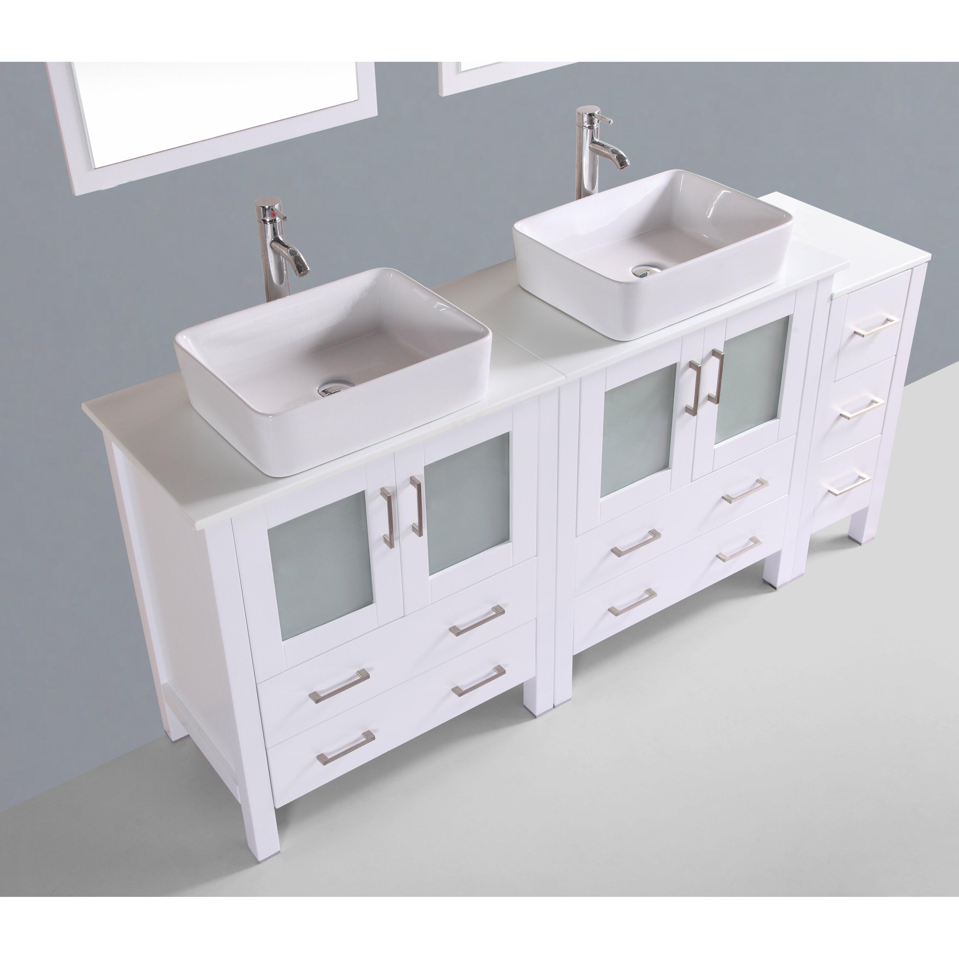 Bosconi contemporary 72 double bathroom vanity set with - Contemporary bathroom vanity sets ...
