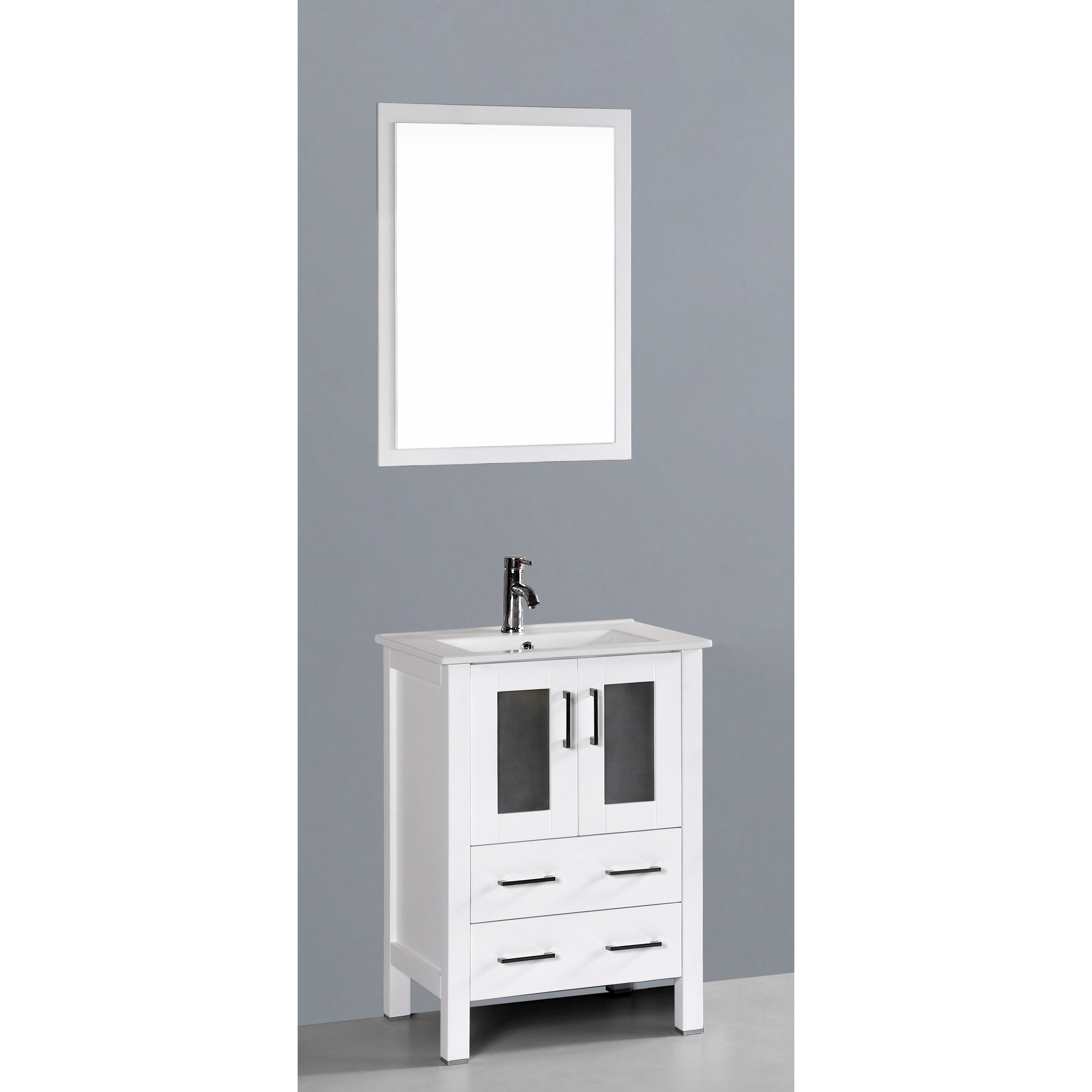 Bosconi Contemporary 24 Single Bathroom Vanity Set With Mirror Reviews Wayfair
