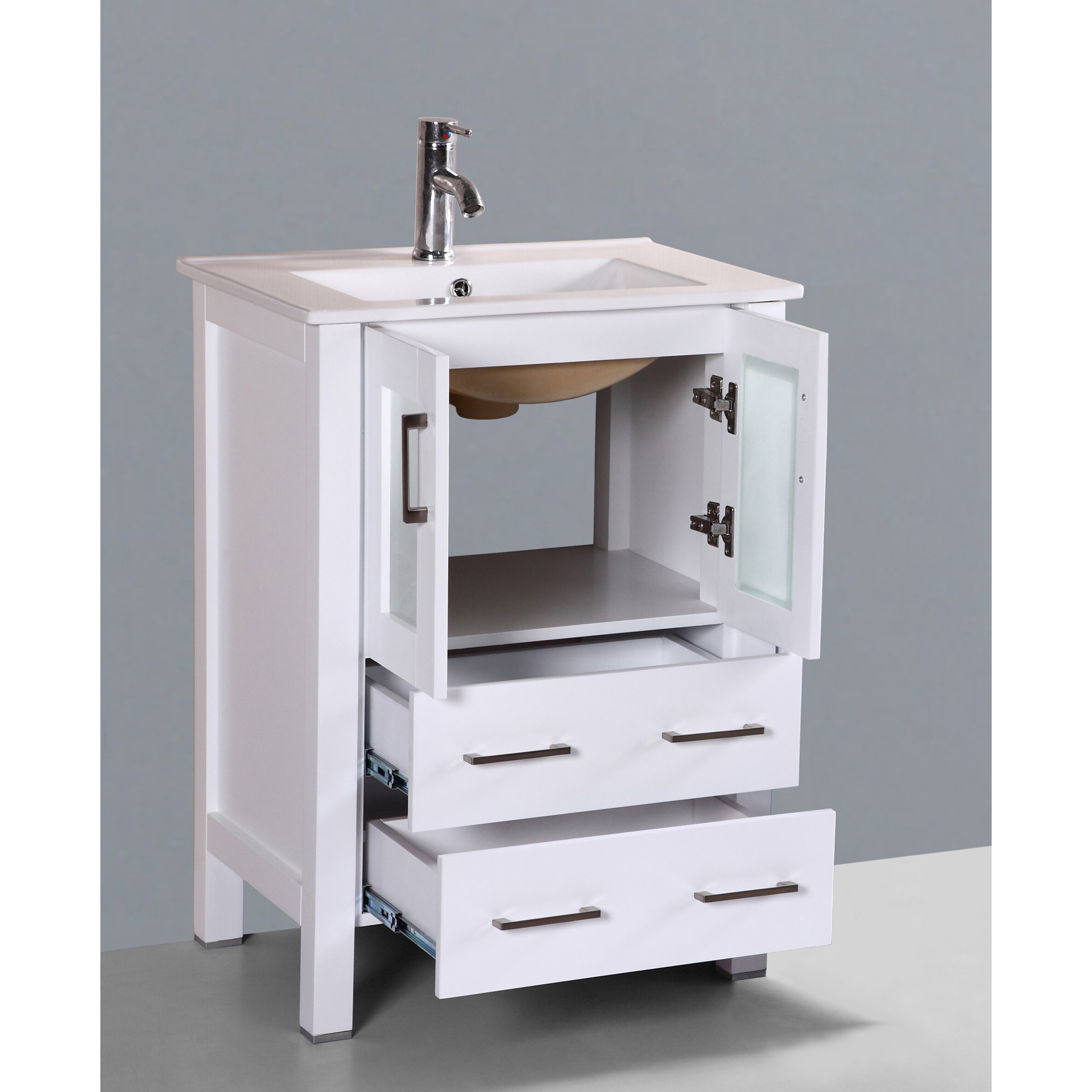 "Bosconi Contemporary 24"" Single Bathroom Vanity Set with Mirror & Re"