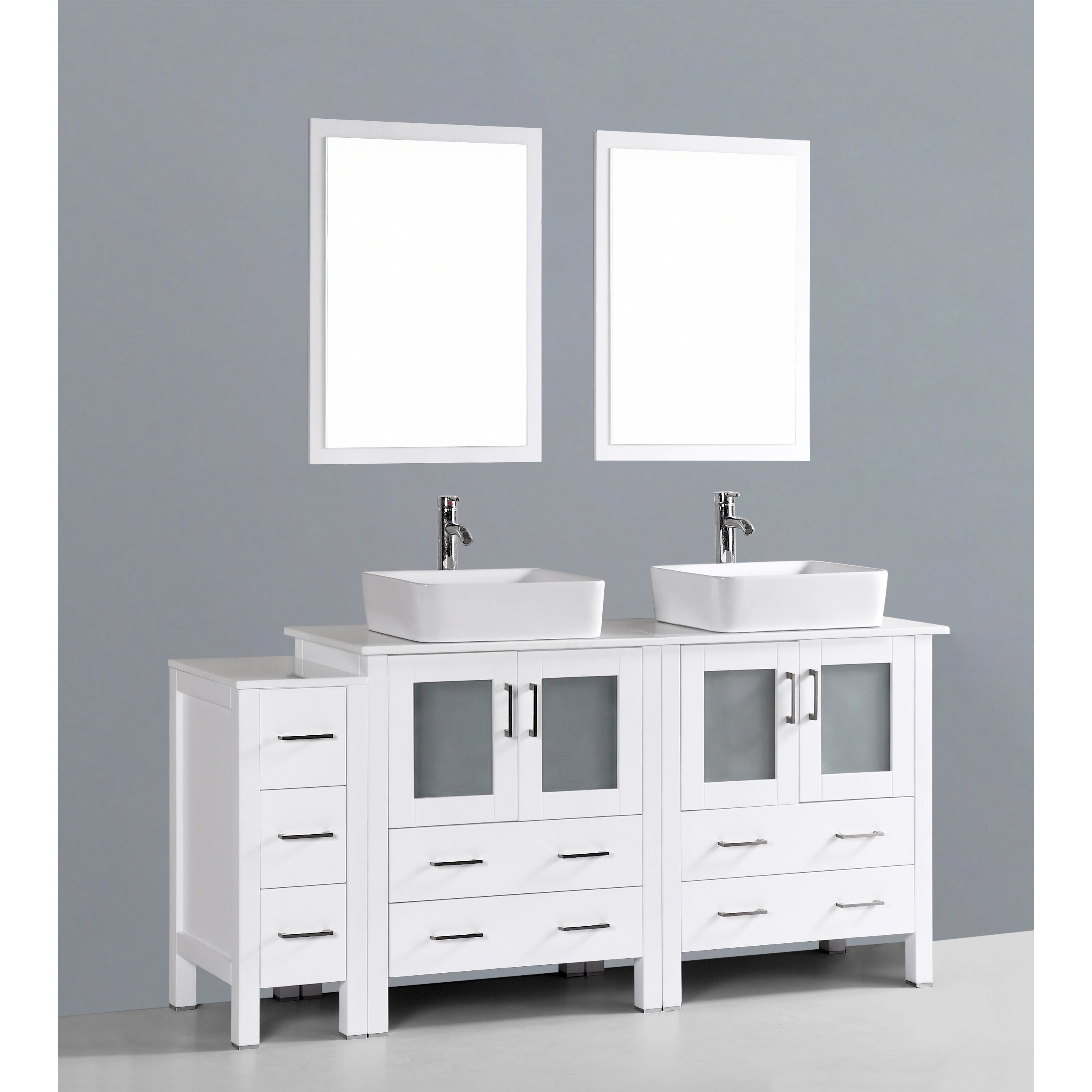 Bosconi contemporary 72 double bathroom vanity set with for Bath and vanity set