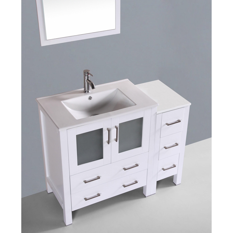 Bosconi Contemporary 42 Single Bathroom Vanity Set With Mirror Reviews Wayfair