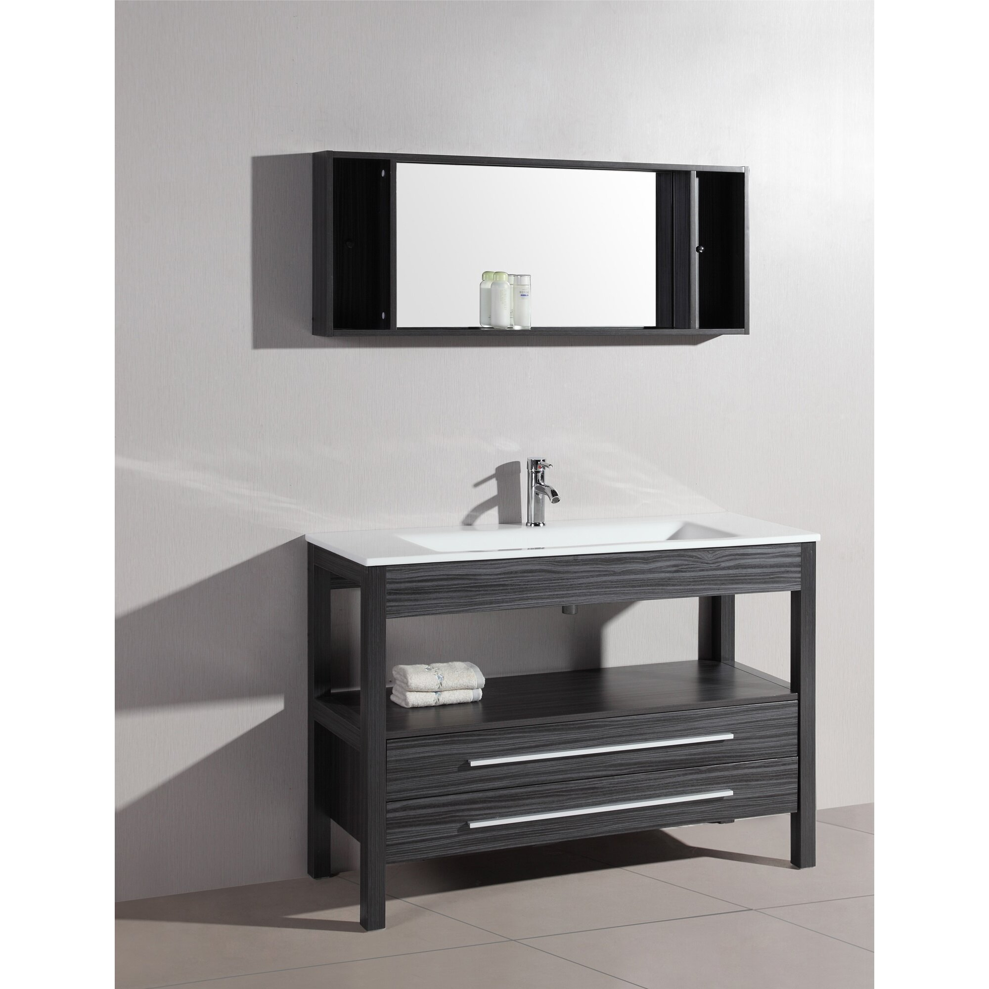 Bosconi contemporary 48 single bathroom vanity set with for 48 inch mirrored bathroom vanity