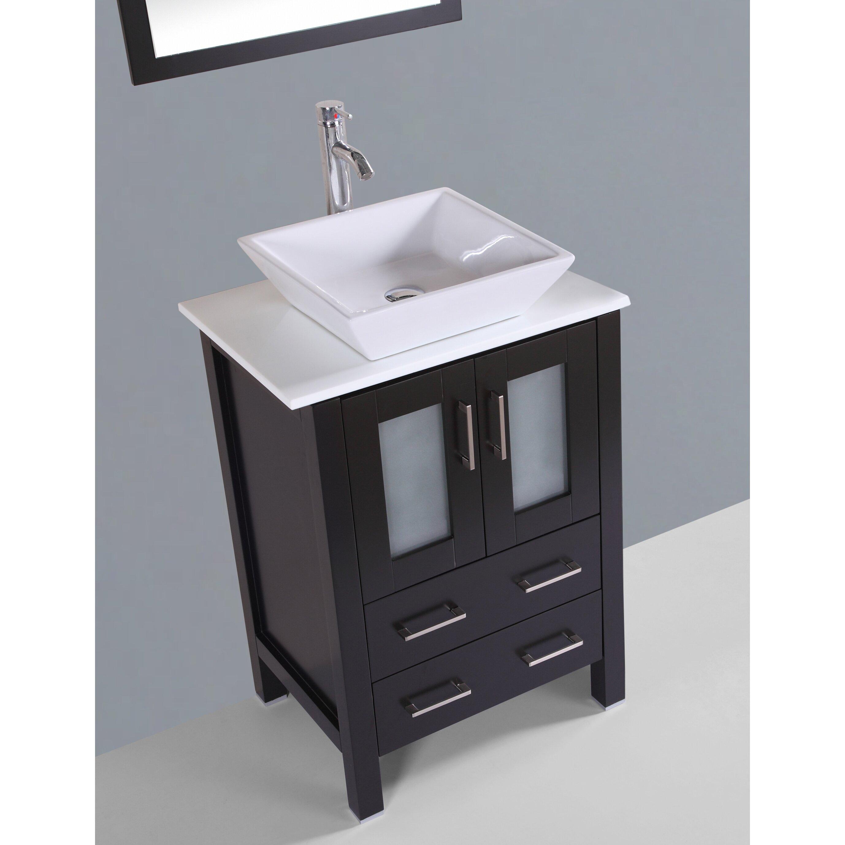 Bosconi contemporary 24 single bathroom vanity set with for Bathroom vanity sets for sale