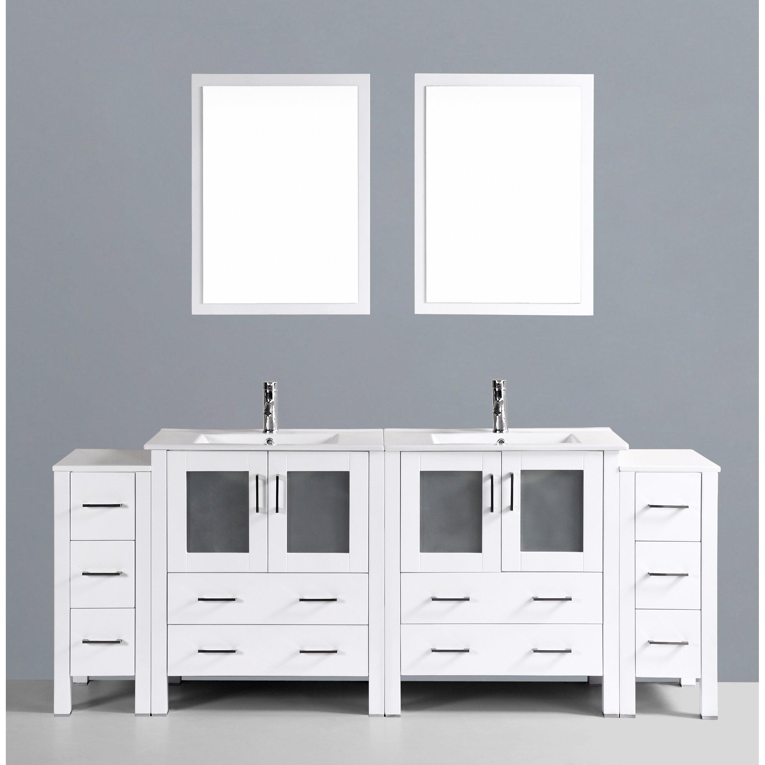 Bosconi Contemporary 84 Double Sink Bathroom Vanity Set With Mirror Am