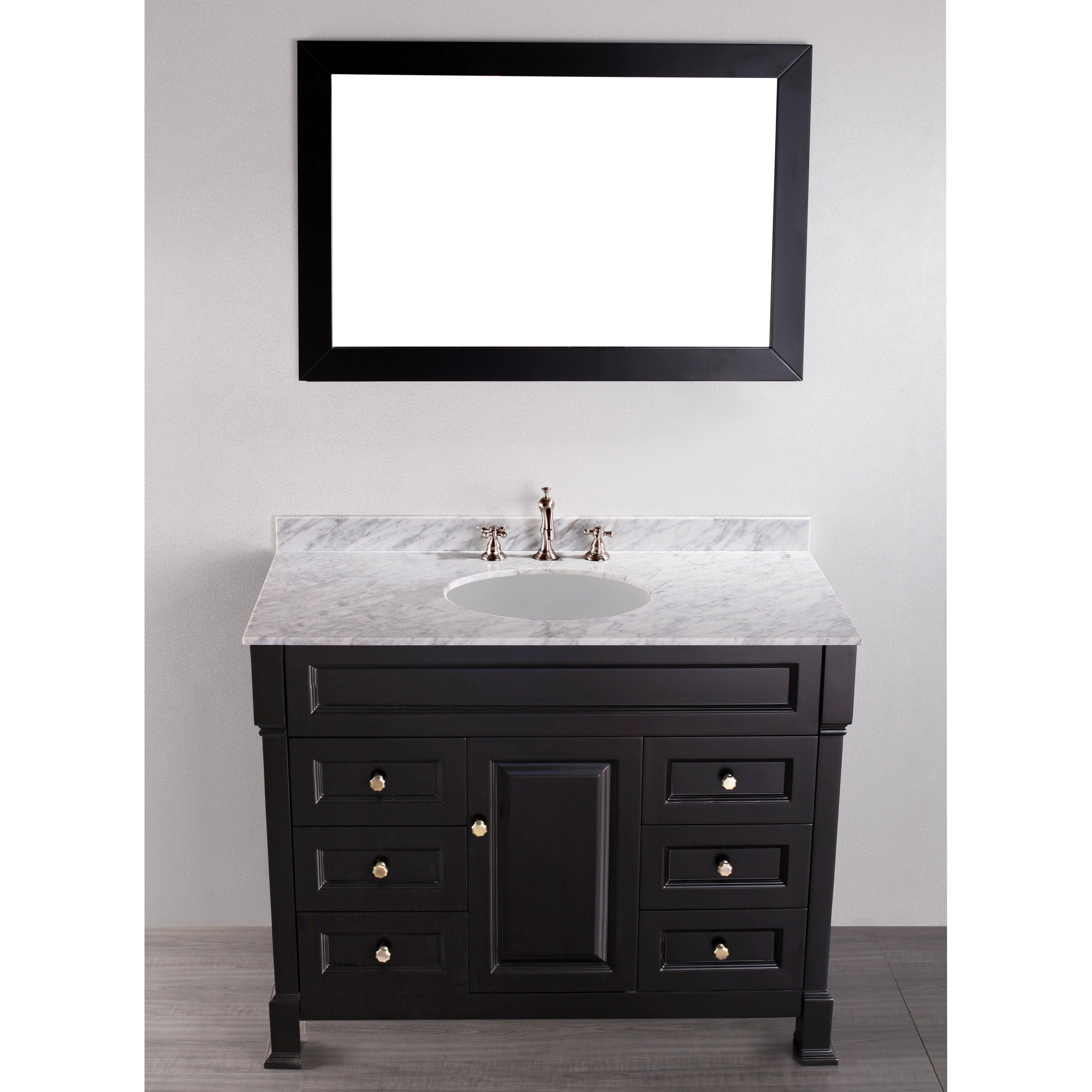 Bosconi contemporary 43 single bathroom vanity set with for Vanity and mirror set