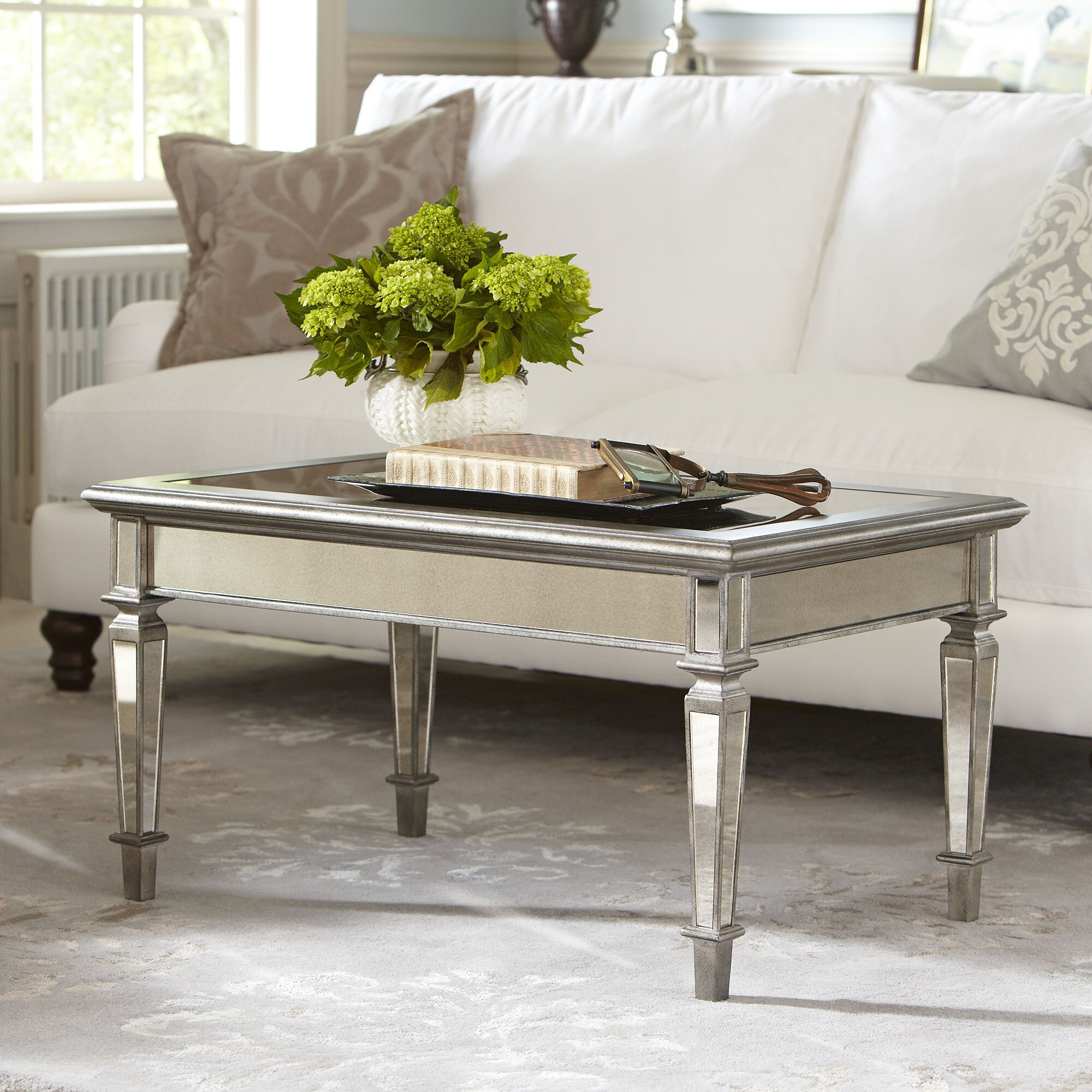 Birch lane leighton mirrored coffee table reviews wayfair for Wayfair mirrored coffee table