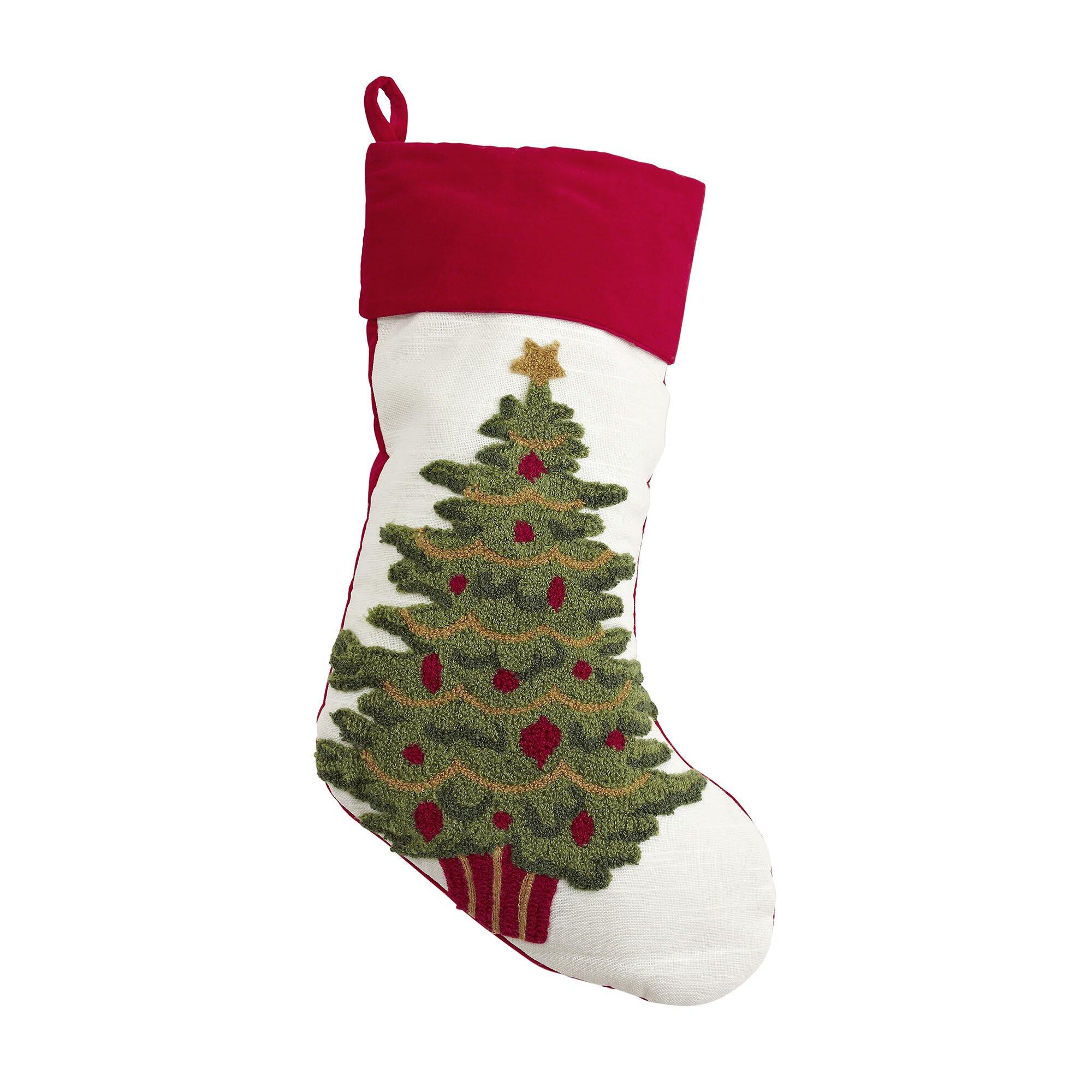 Christmas Tree Tufted Stocking