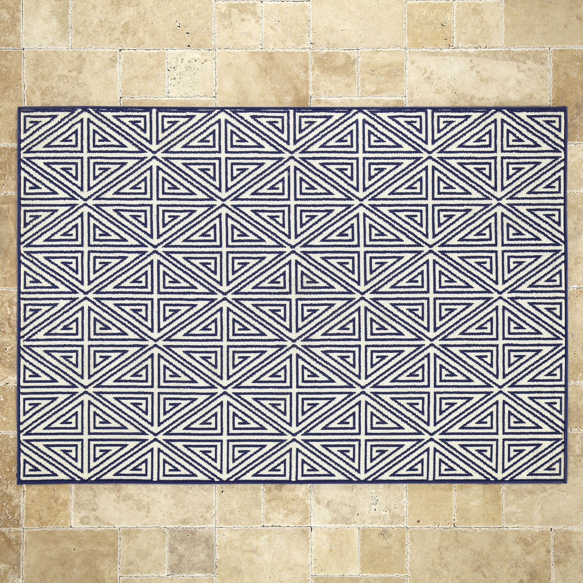 Birch lane machine woven navy indoor outdoor area rug for Woven vinyl outdoor rugs