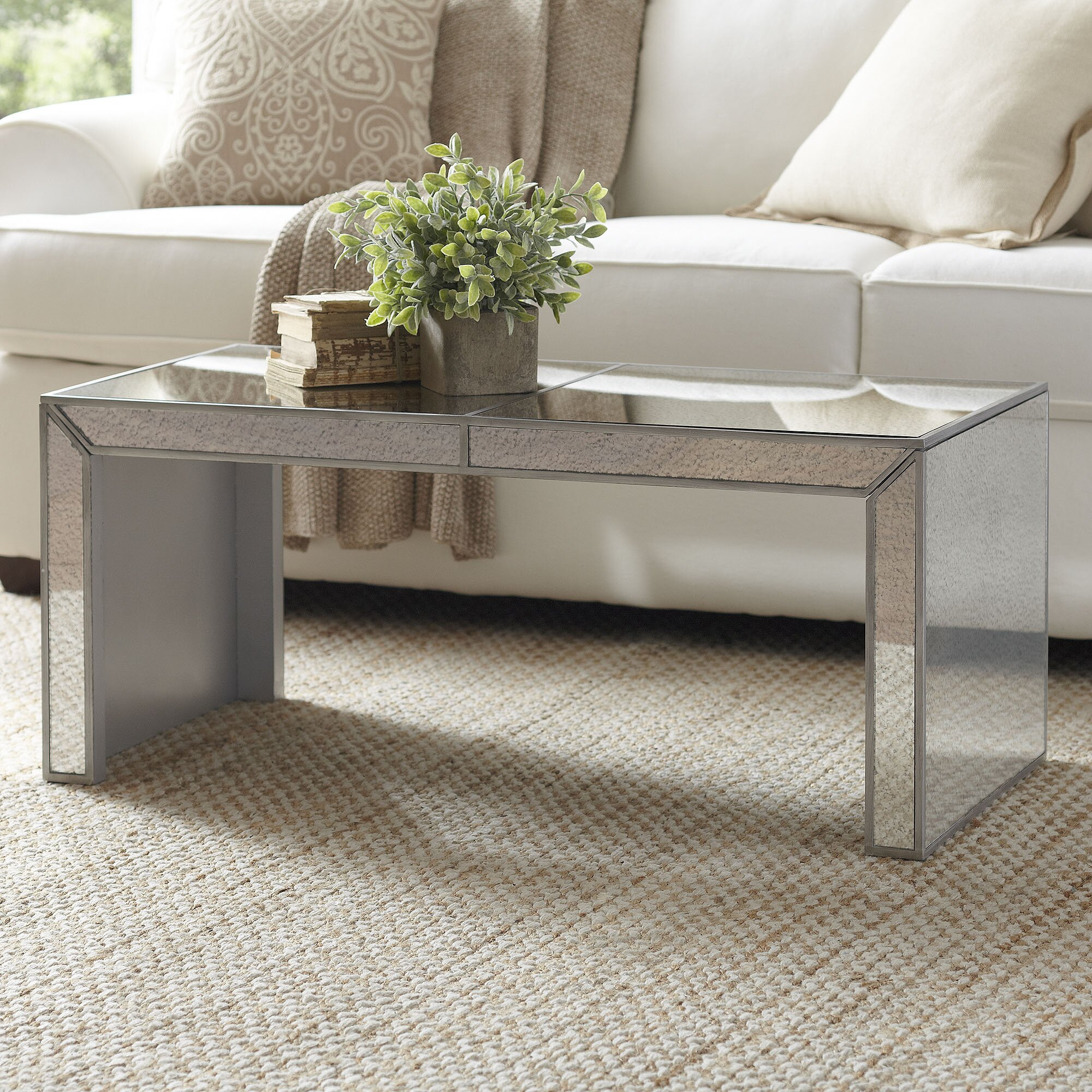 Birch Lane Elliott Mirrored Coffee Table & Reviews