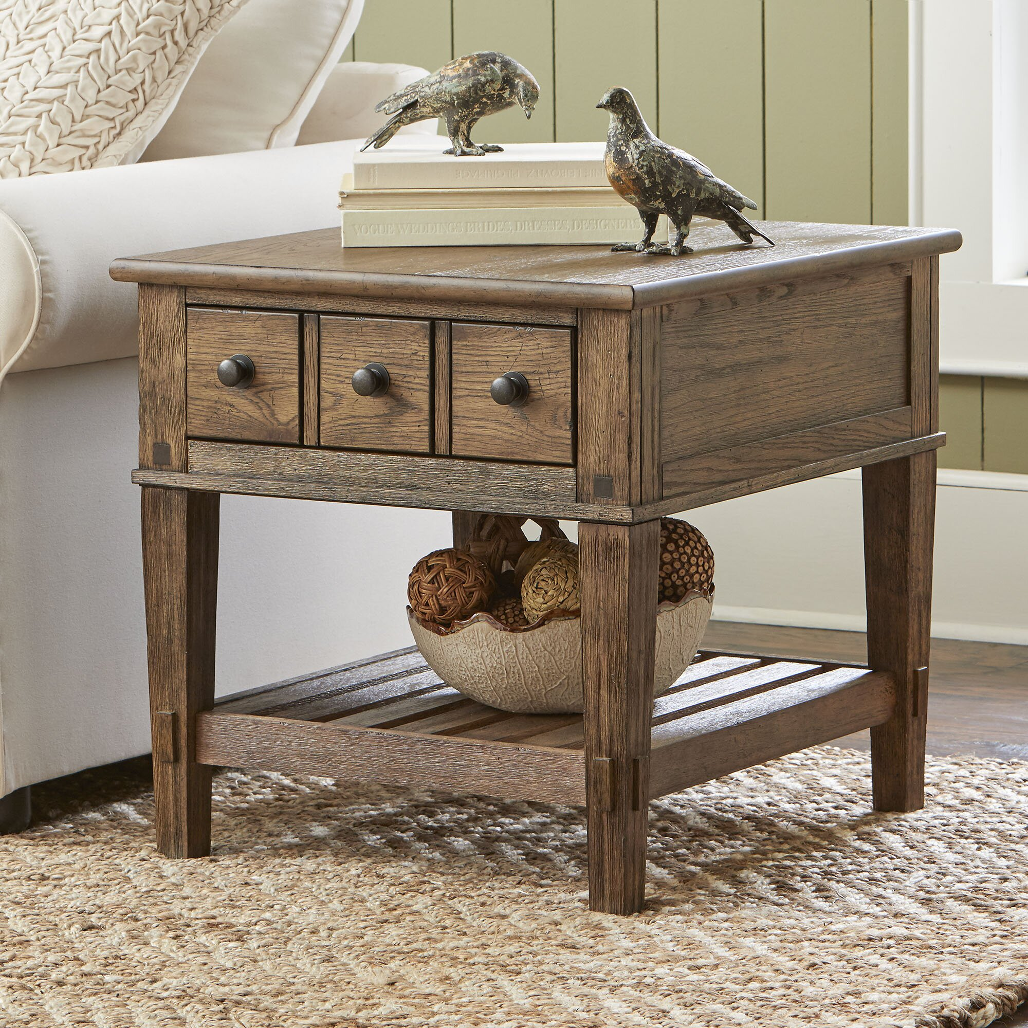 Lane Coffee Table With Drawers: Birch Lane Derrickson Side Table With Drawers & Reviews