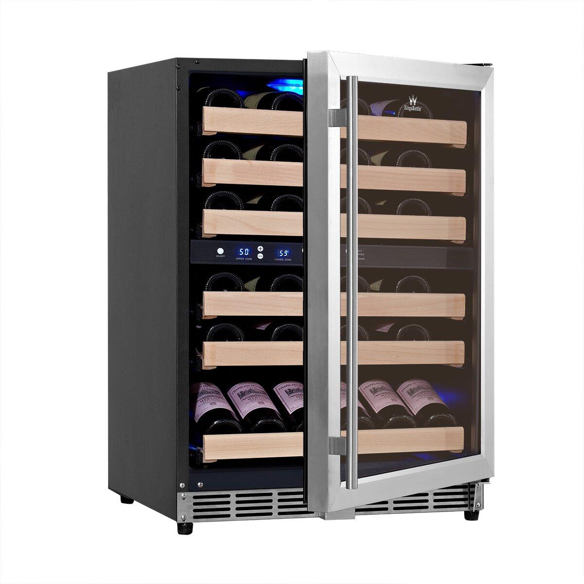 kingsbottle 46 bottle dual zone convertible wine refrigerator wayfair. Black Bedroom Furniture Sets. Home Design Ideas