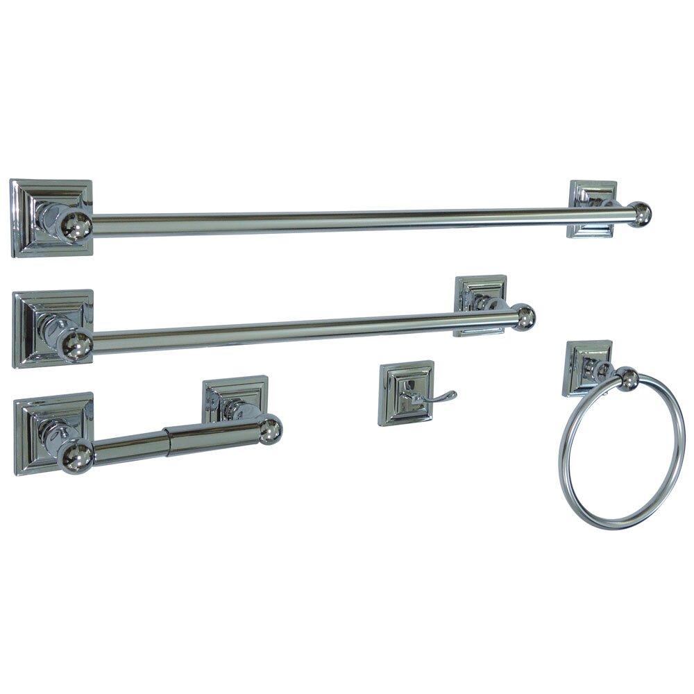 Kingston brass serano 5 piece bathroom hardware set for Bathroom 5 piece set