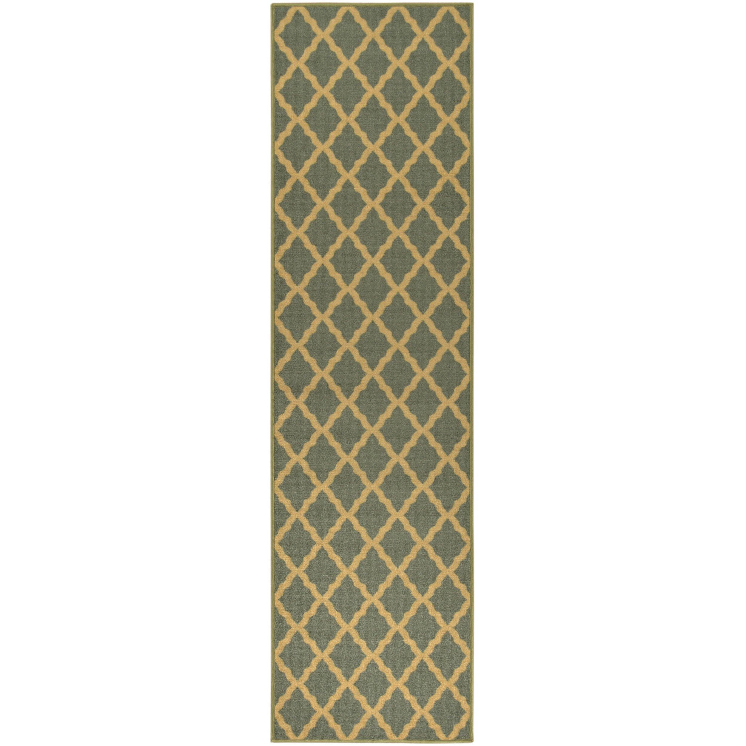 Ottomanson Ottohome Moroccan Trellis Design Sage Green