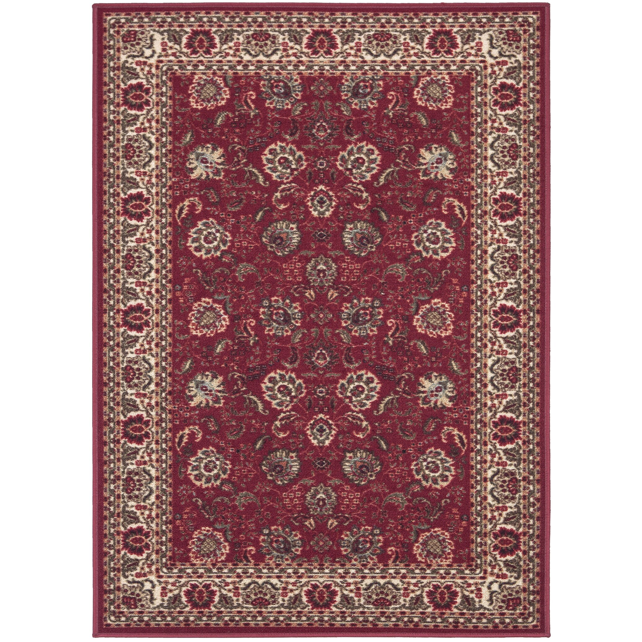 Ottomanson ottohome dark red floral area rug reviews for Red floral area rug