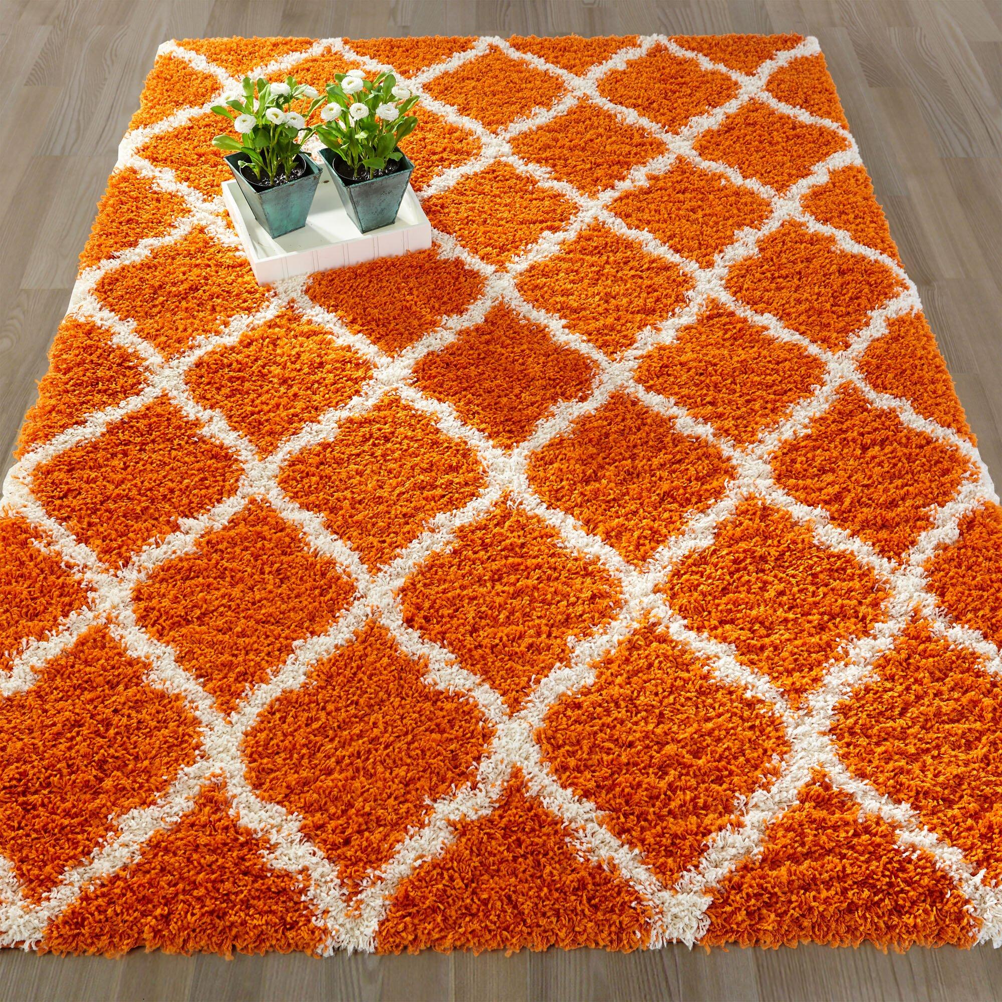 Ottomanson Ultimate Moroccan Trellis Soft Orange Shaggy