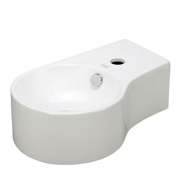 Deep Porcelain Sink : Elanti Porcelain Round Wall Mounted Deep Bowl Left Facing Sink ...