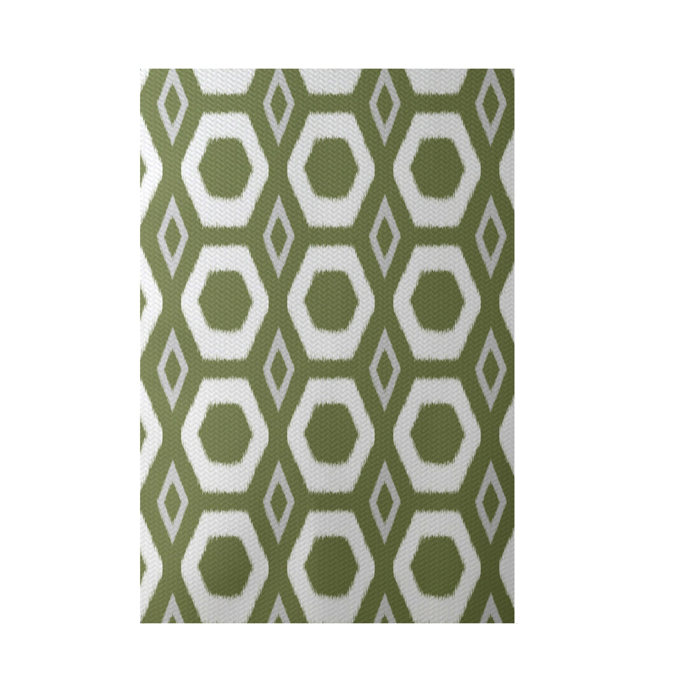E by design more hugs and kisses geometric print olive for Geometric print area rugs