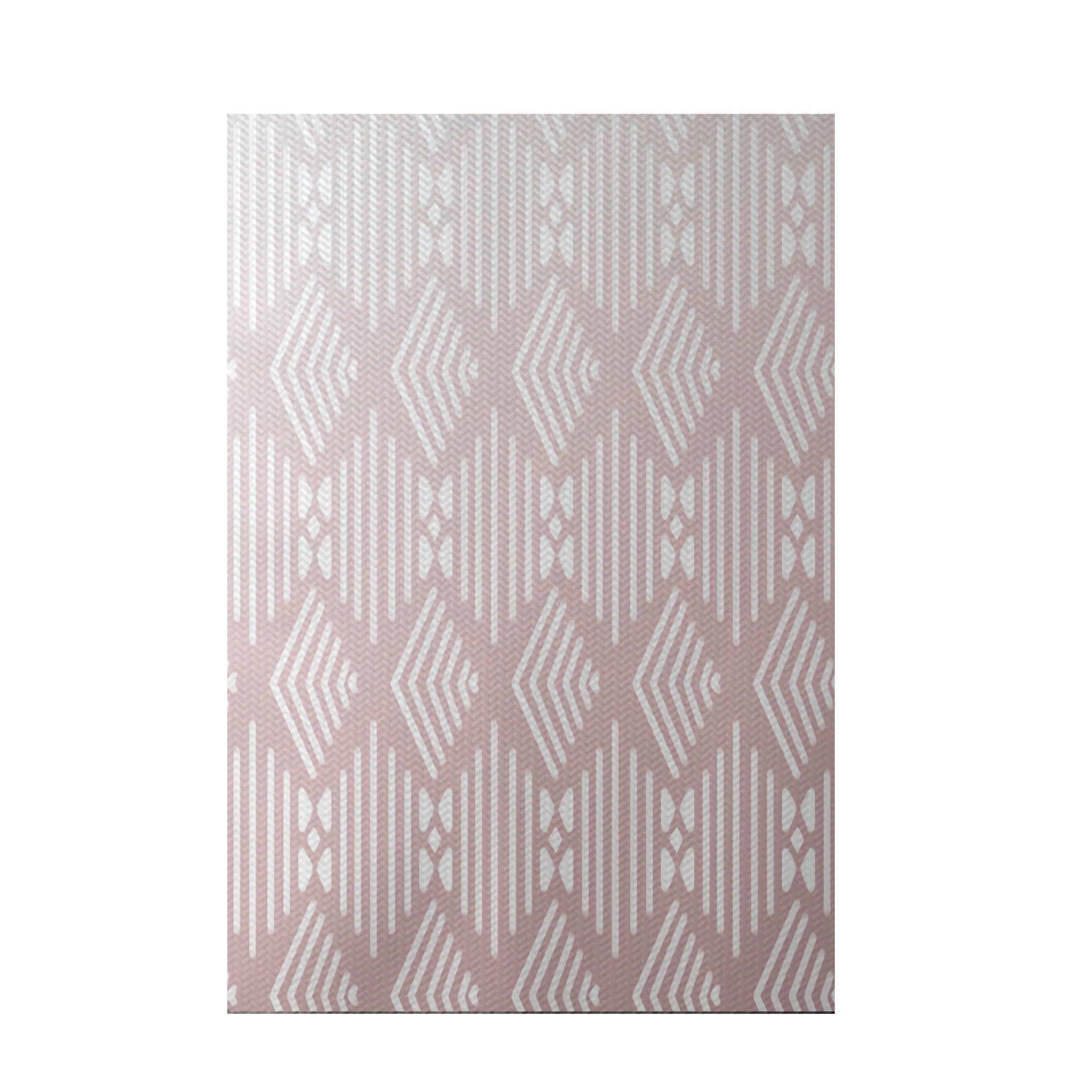 E by design fishbones geometric print blush indoor outdoor for Geometric print area rugs