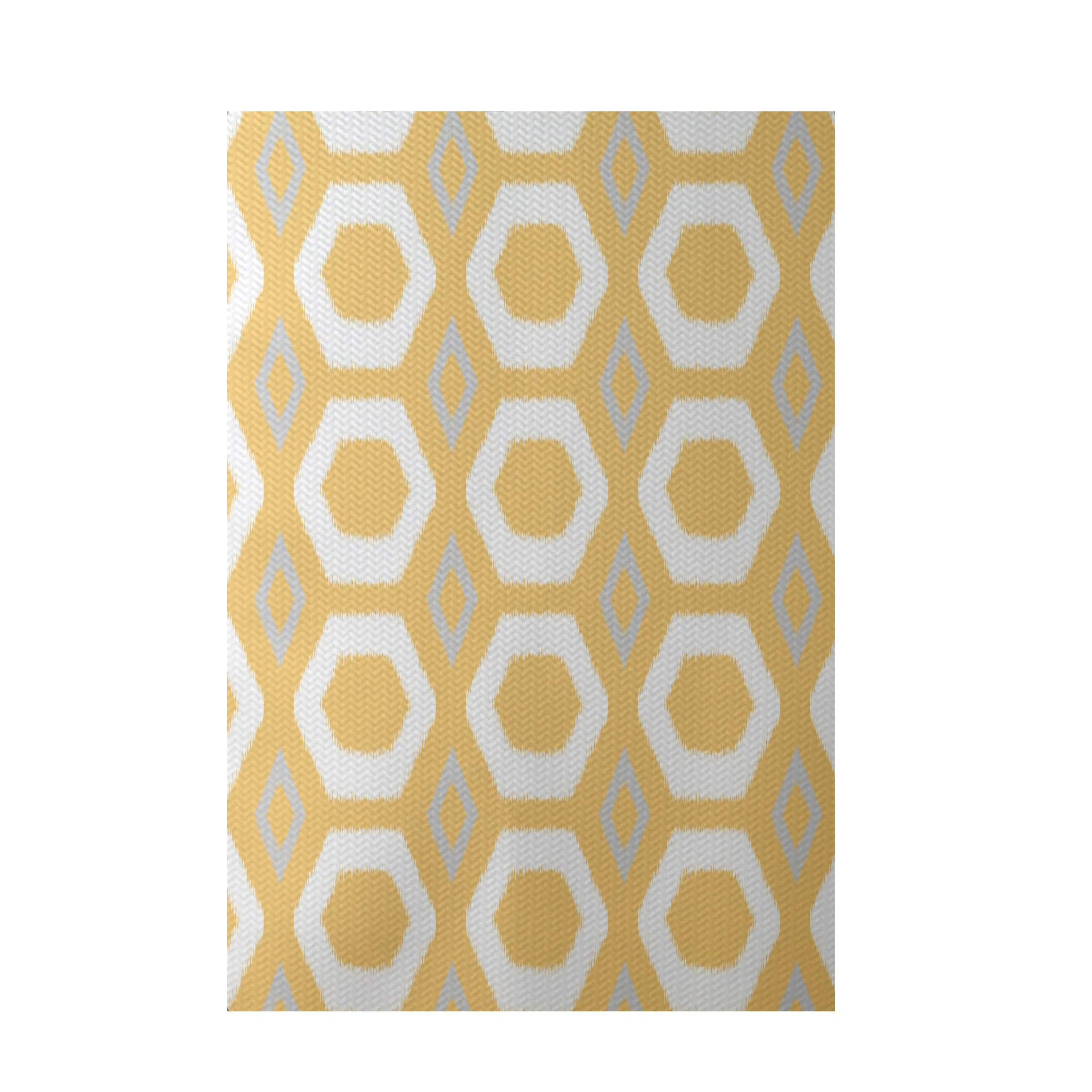 E by design more hugs and kisses geometric print yellow for Geometric print area rugs