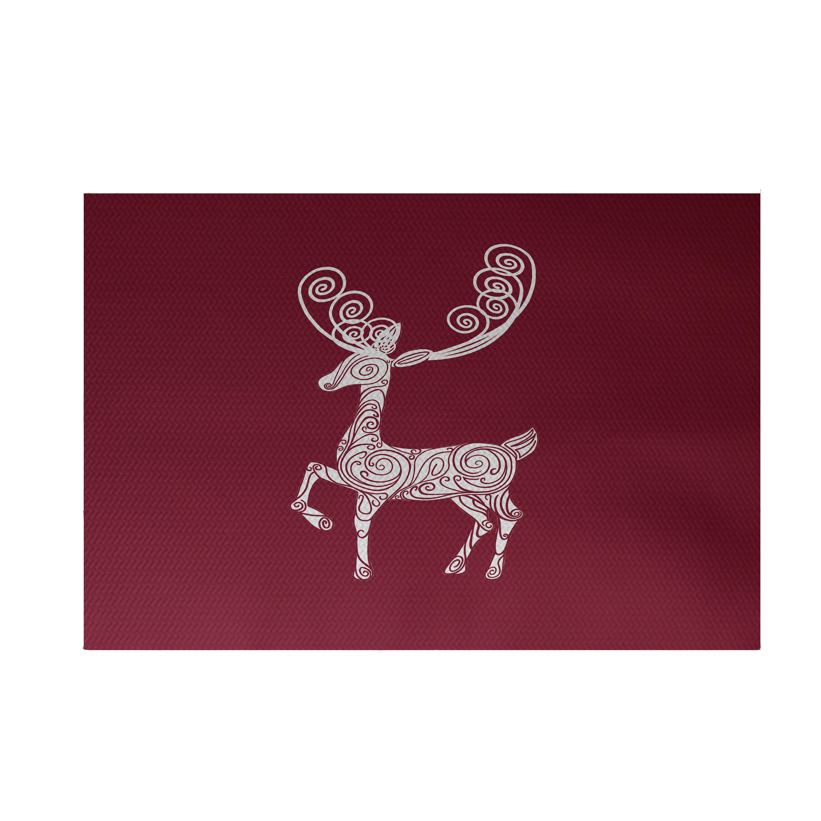 E By Design Deer Crossing Decorative Holiday Print