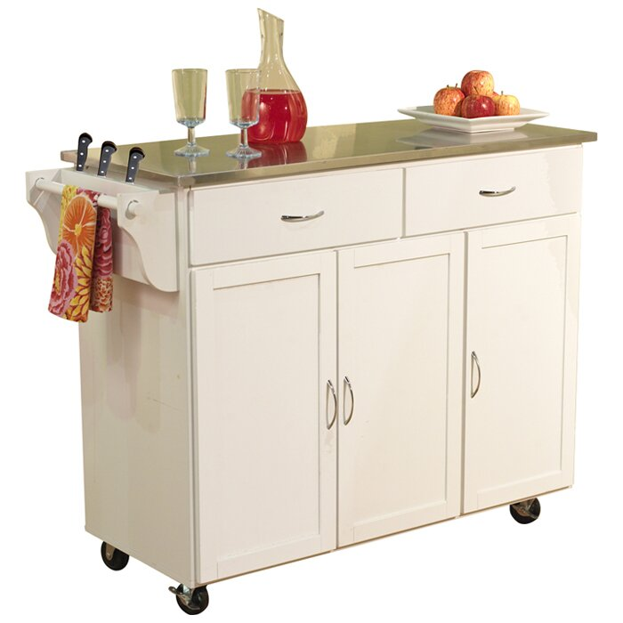 tms berkley kitchen island with stainless steel top loon peak eldorado springs kitchen island with stainless