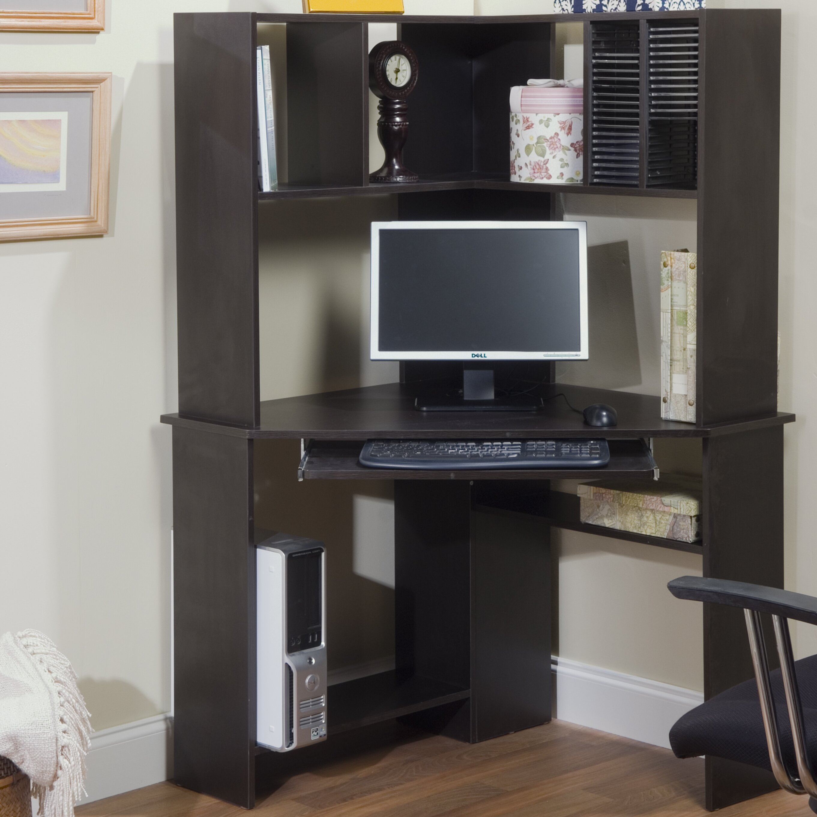 tms morgan corner computer desk with hutch reviews wayfair. Black Bedroom Furniture Sets. Home Design Ideas