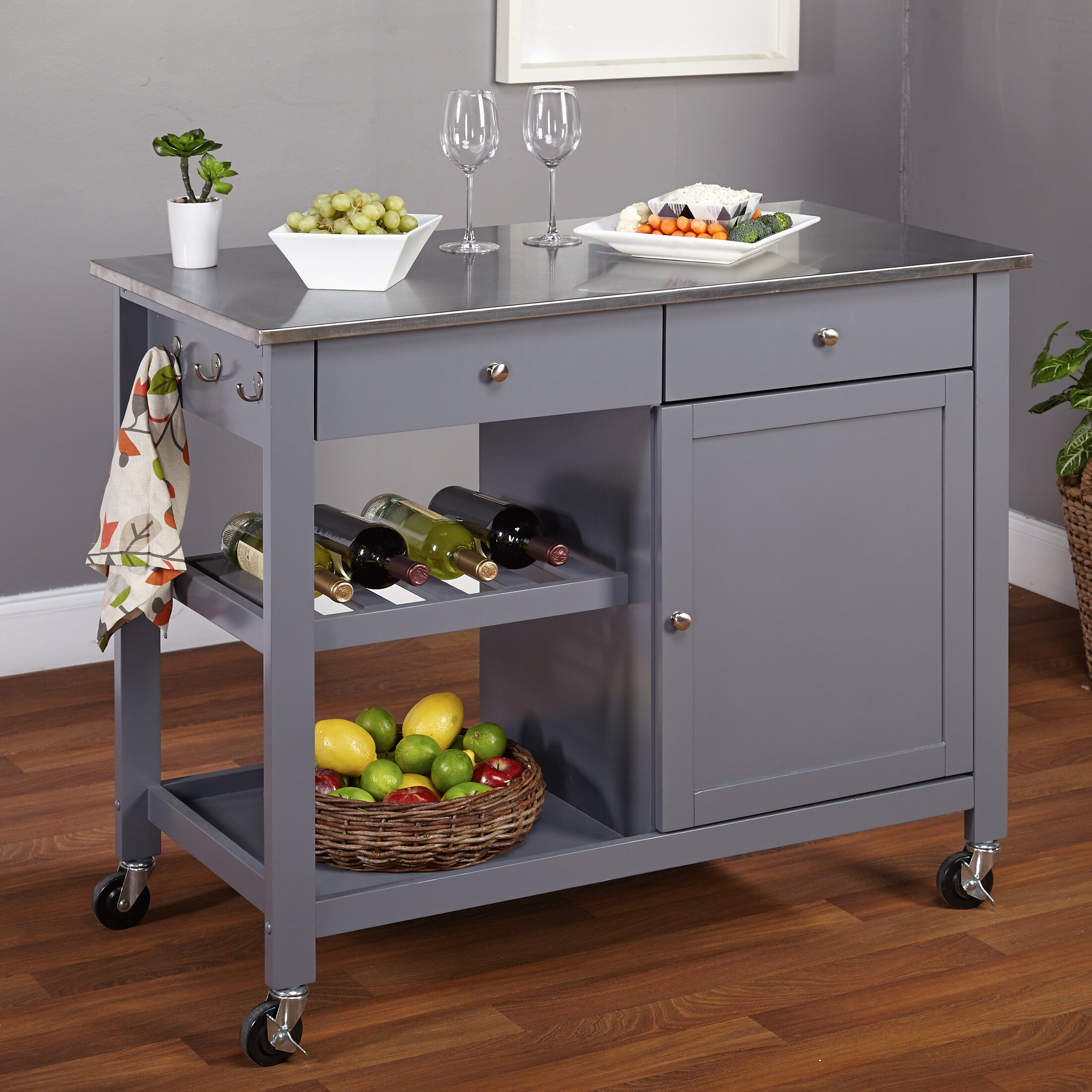 Grey Kitchen Island Cart