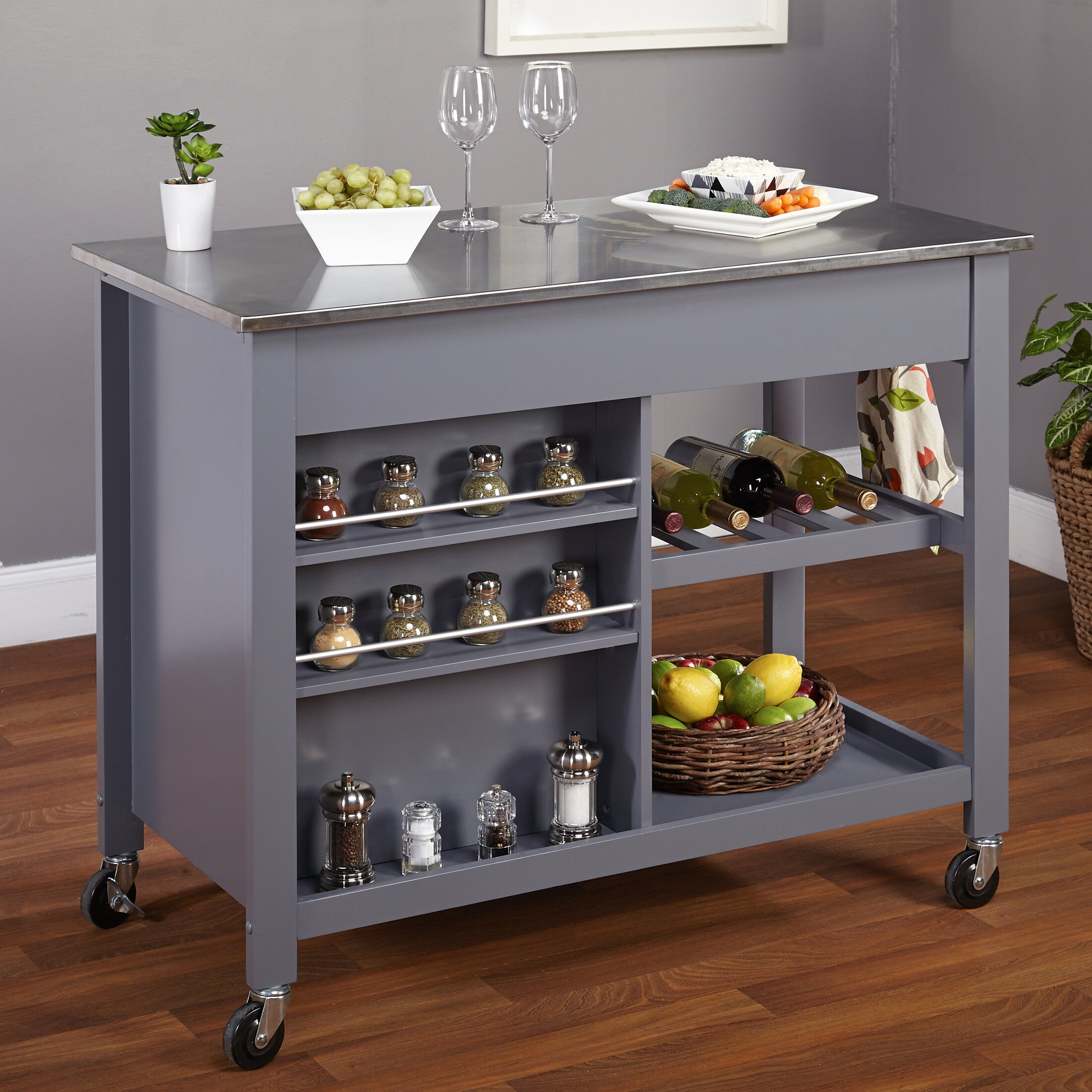 metal island kitchen tms columbus kitchen island with stainless steel top 14184