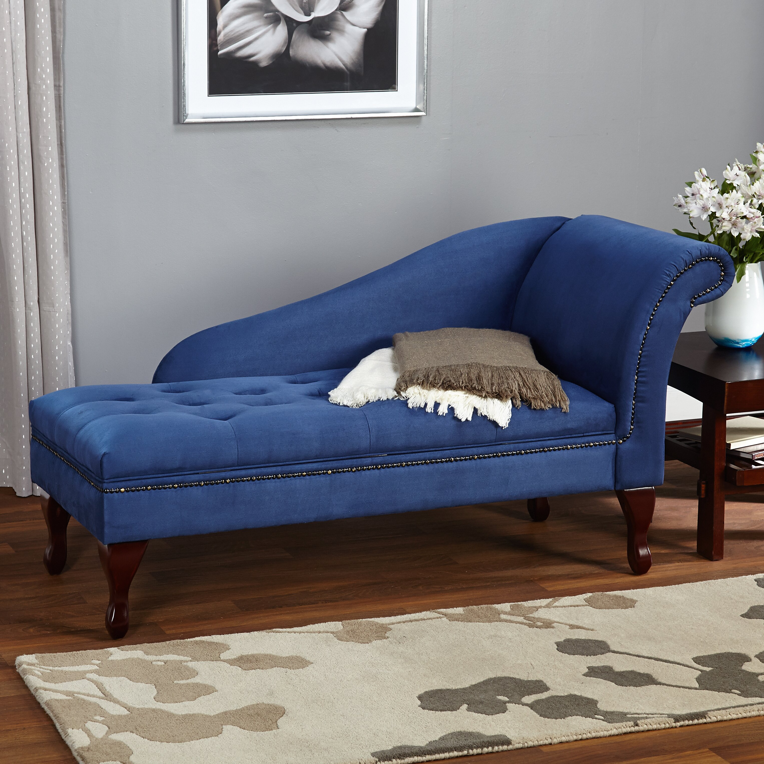 Tms storage chaise lounge reviews wayfair for Chaise bench storage