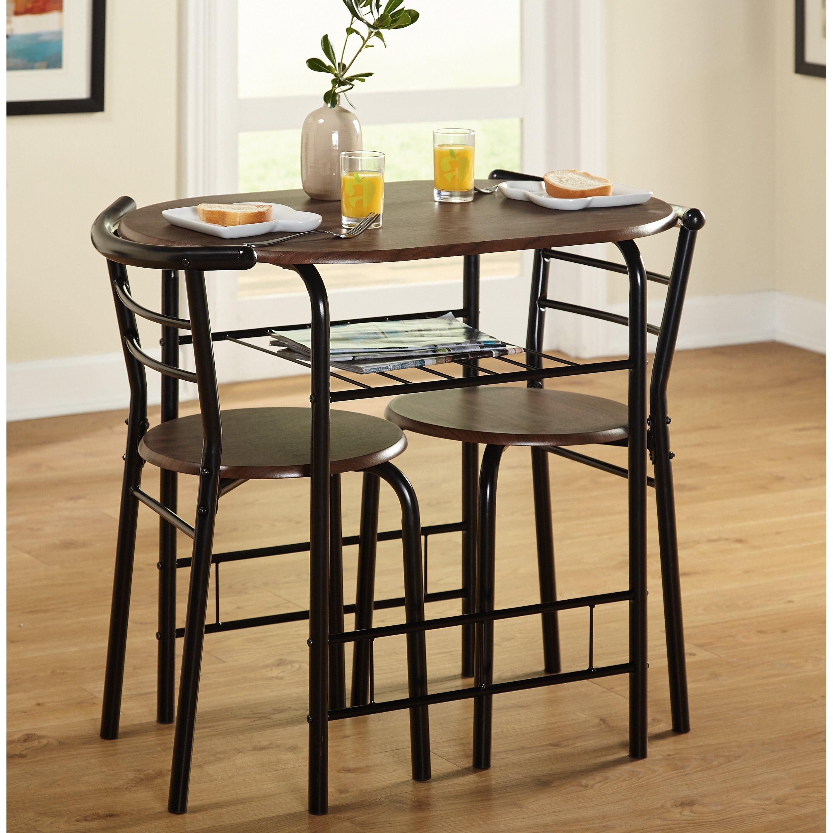 tms bistro 3 piece compact dining set reviews wayfair. Black Bedroom Furniture Sets. Home Design Ideas