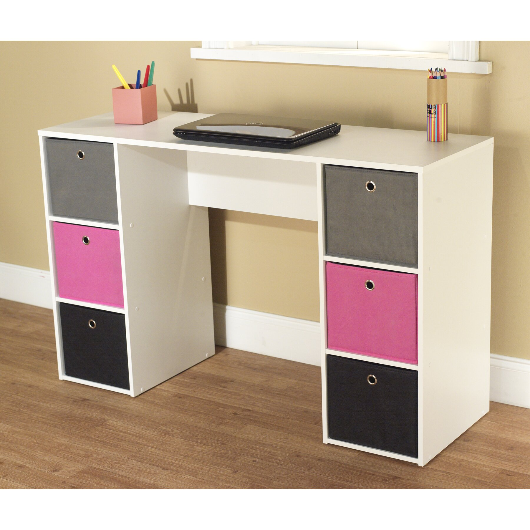 Marvelous photograph of TMS Writing Desk with 6 Bins & Reviews Wayfair with #AA2163 color and 1800x1800 pixels