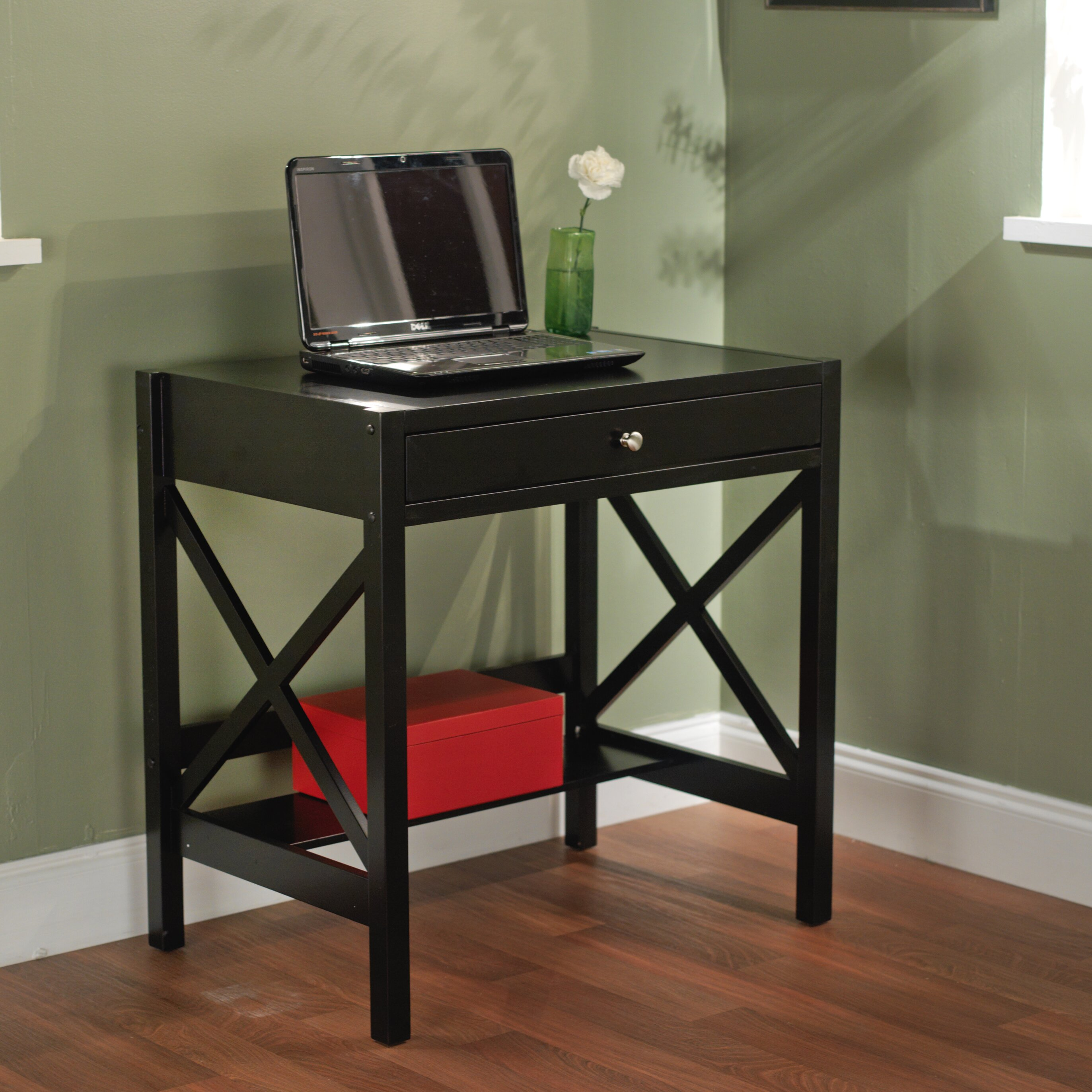 charlton home chad 1 drawer writing desk reviews wayfair. Black Bedroom Furniture Sets. Home Design Ideas