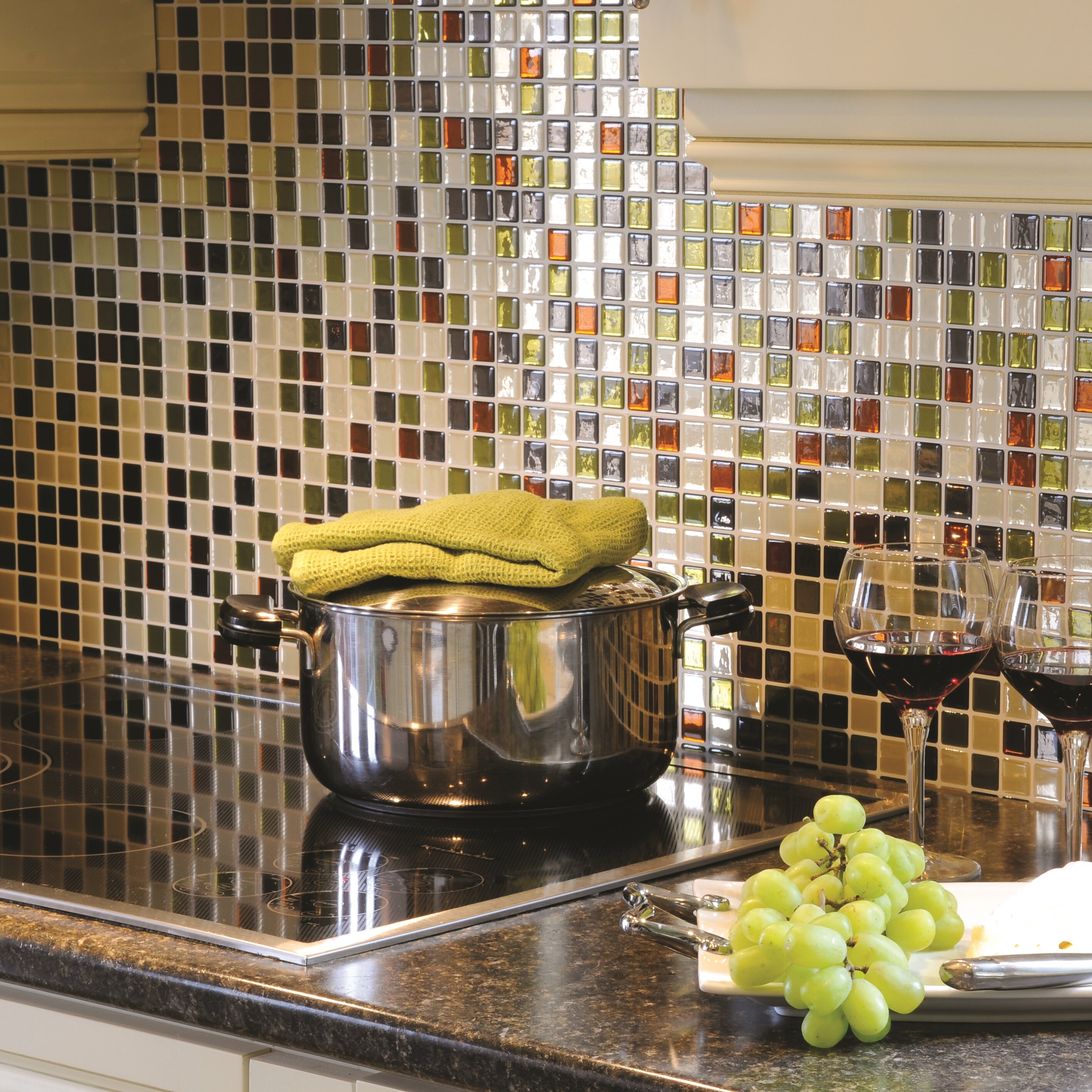 smart tiles mosaik idaho x peel stick wall tile in beige green rust reviews. Black Bedroom Furniture Sets. Home Design Ideas