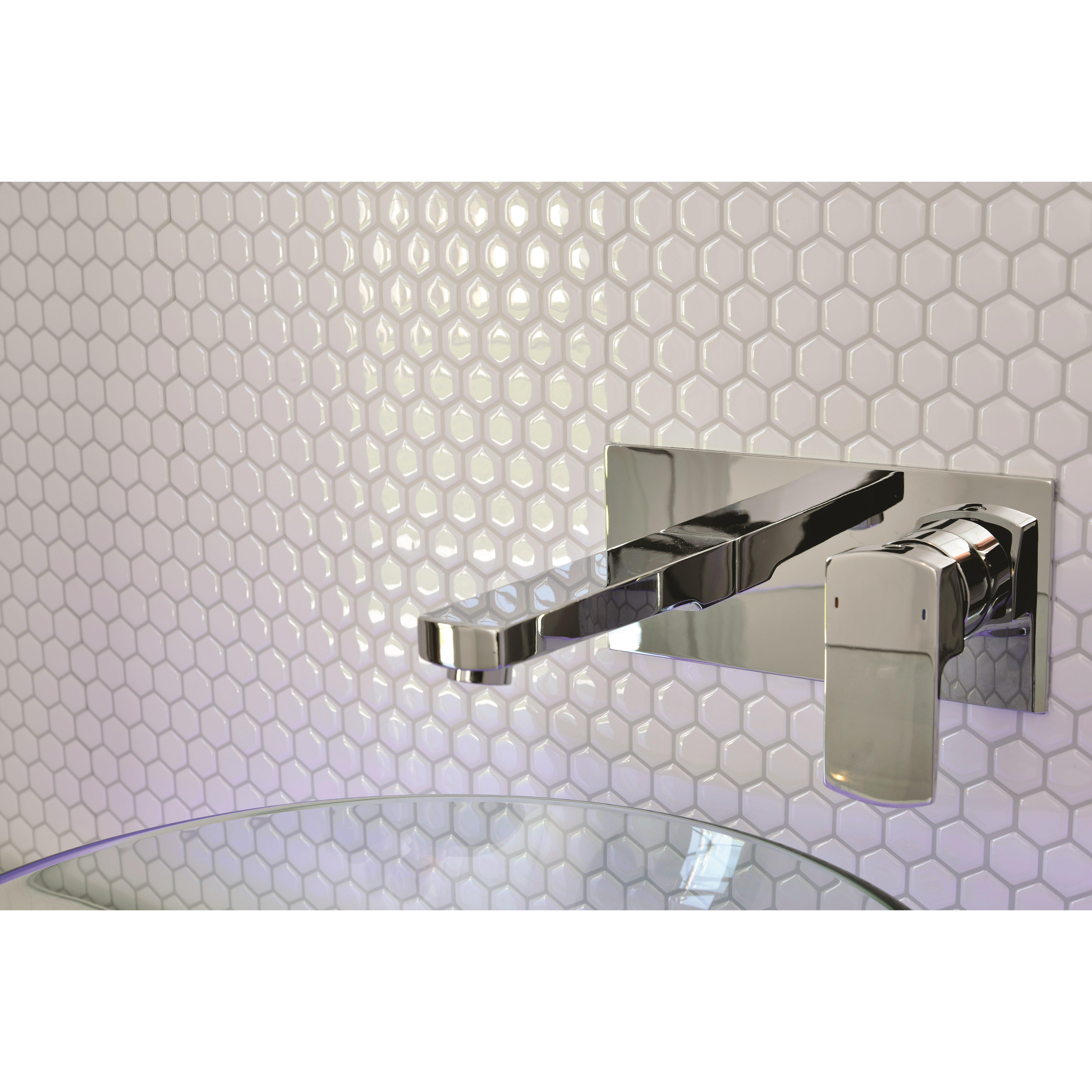 smart tiles mosaik hexago x peel stick mosaic tile in white reviews wayfair. Black Bedroom Furniture Sets. Home Design Ideas
